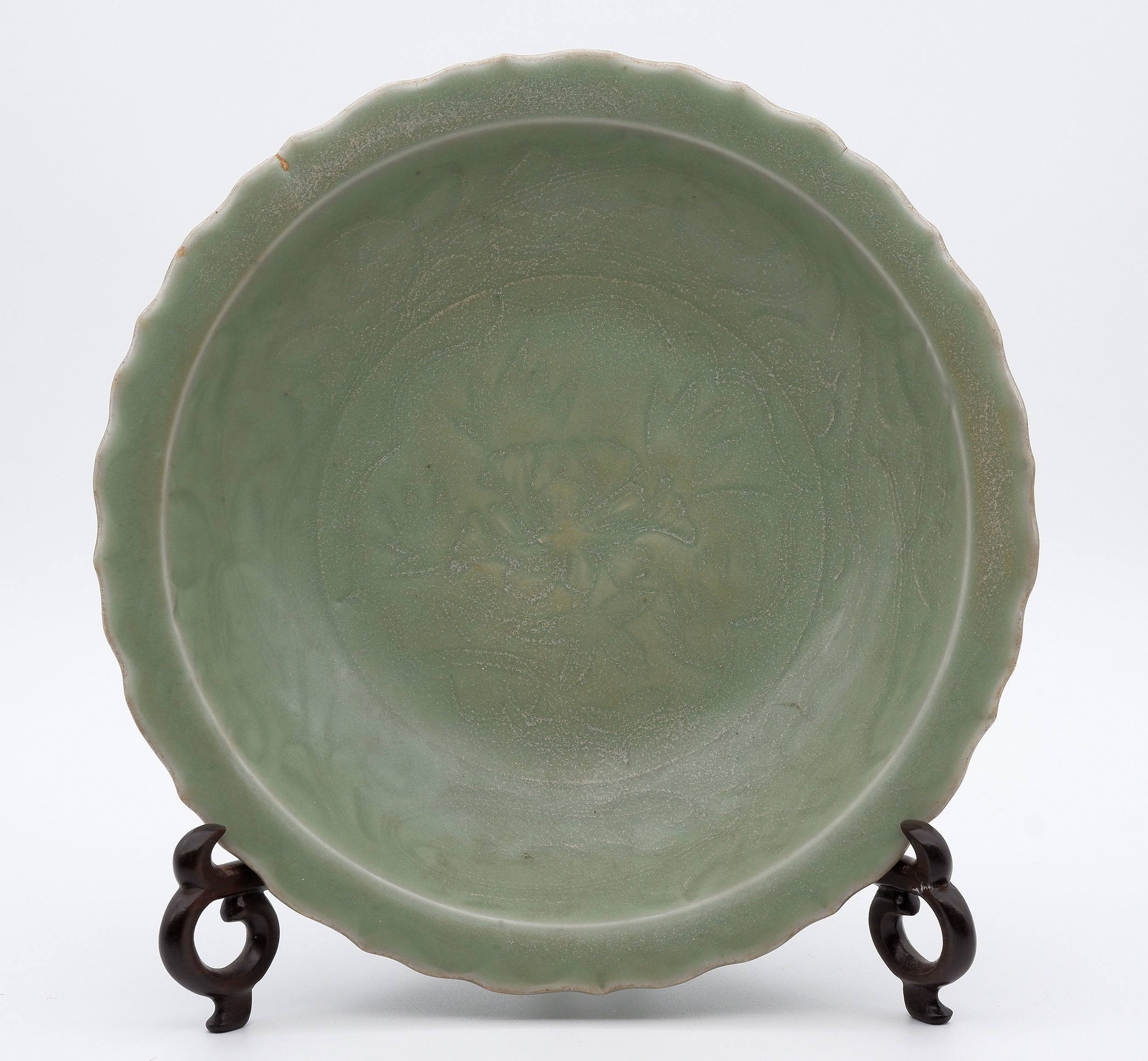 'Chinese Longquan Celadon Foliate Rim Dish Incised with Carved Peony, Ming Dynasty or Later'