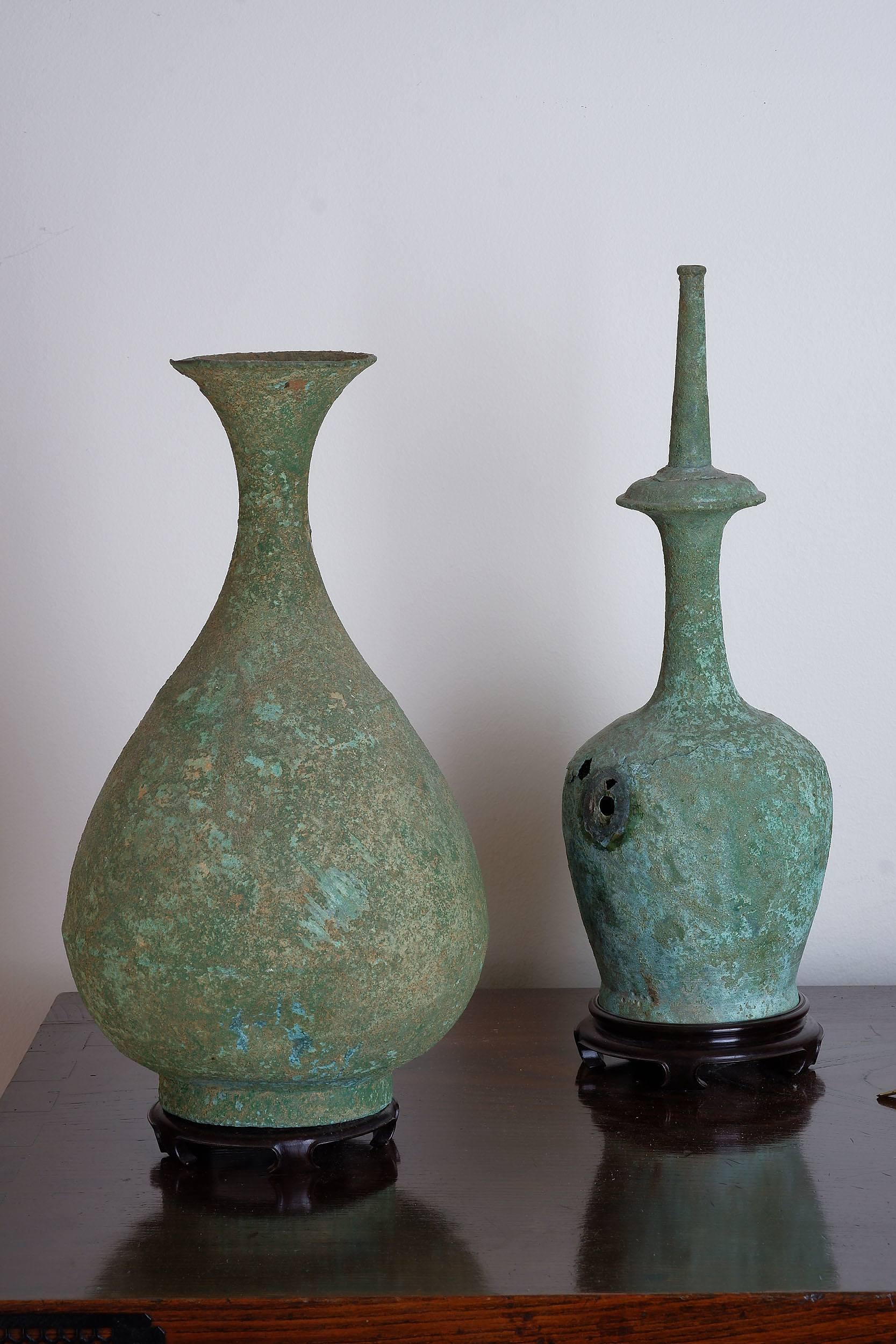 'Korean Bronze Kundika and Bottle Vase, Possibly Goryeo Dynasty 10th/11th Century'