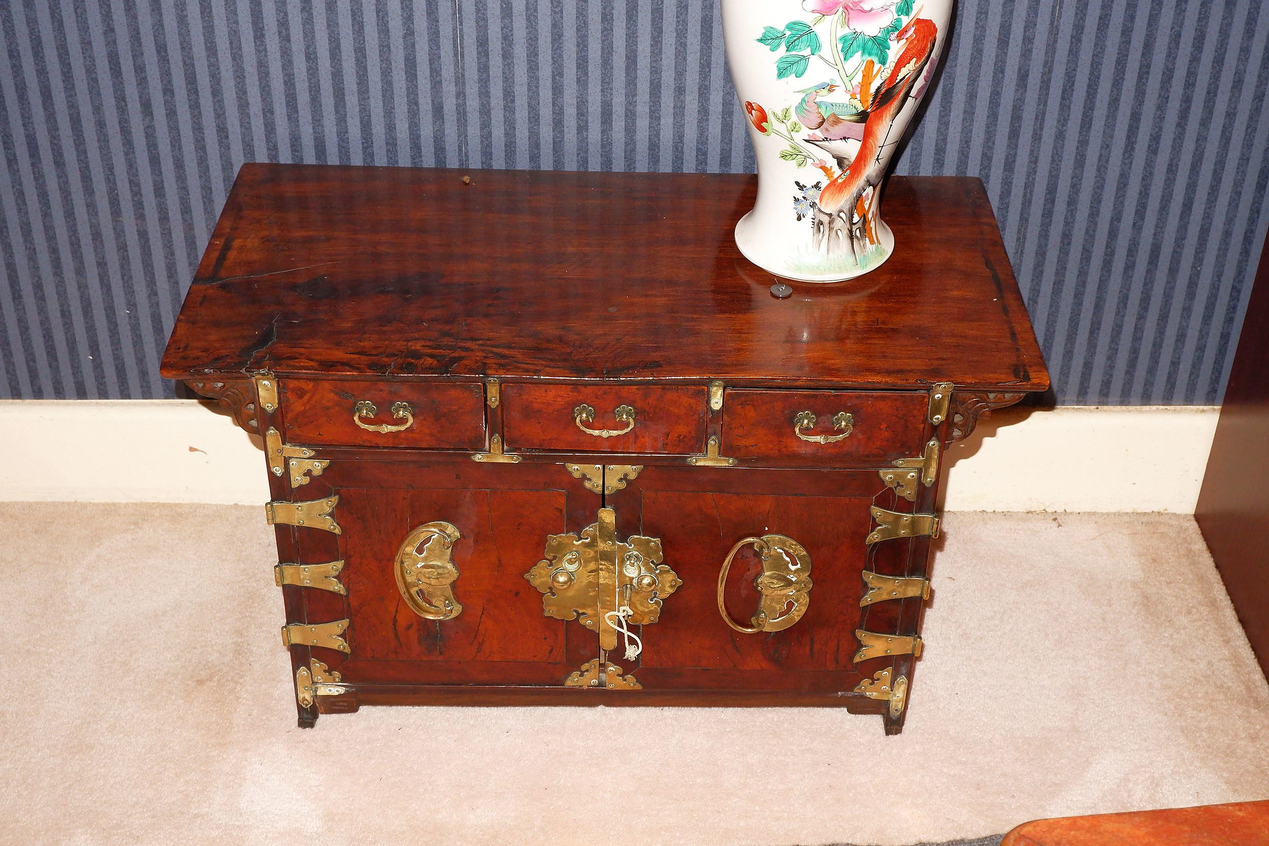 'Small Antique Korean Brass Mounted Burlwood Altar Cabinet'