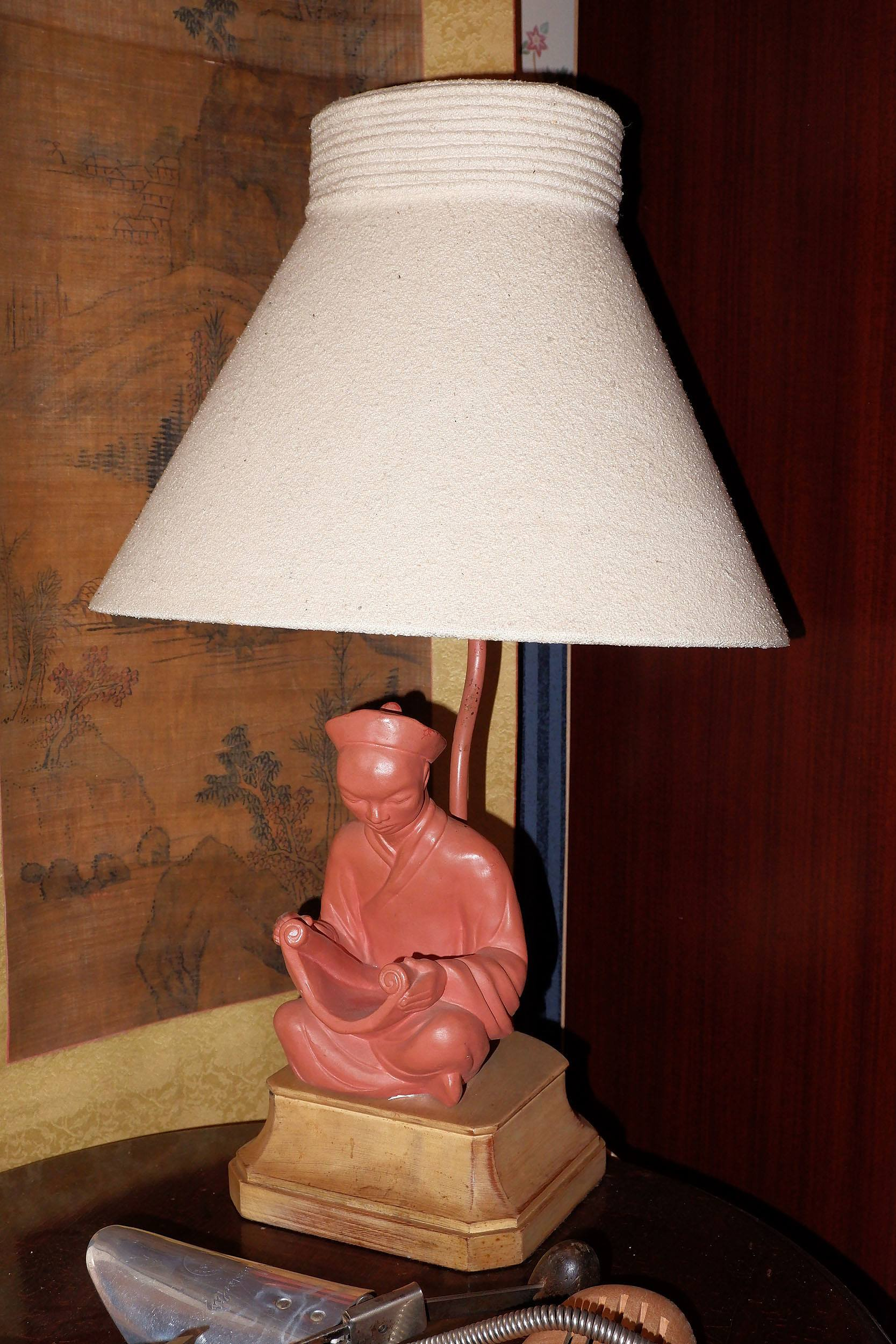 'Vintage Amercian Art Deco Figural Ceramic Mandarin Table Lamp with Suede Shade'