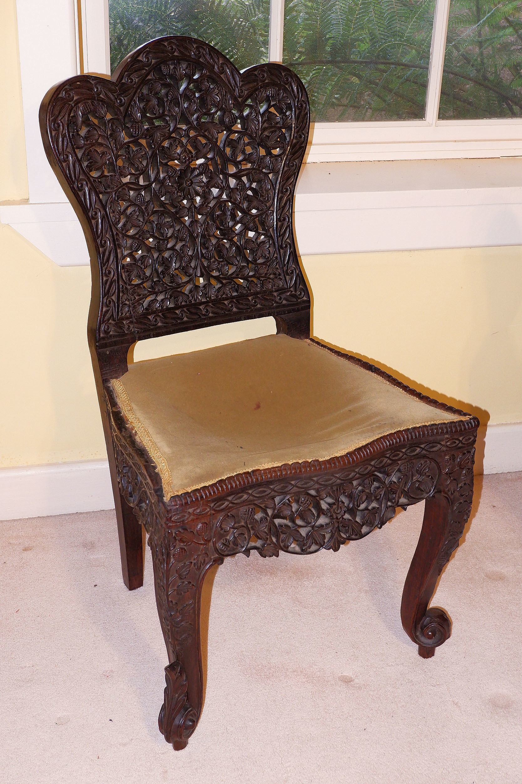 'Anglo Burmese Pierced and Carved Side Chair, 19th Century'