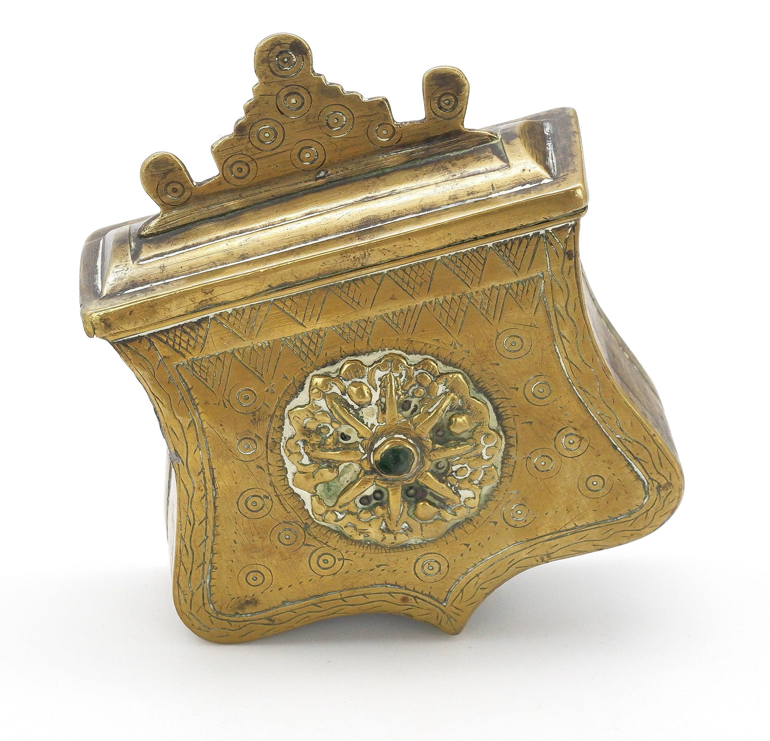 'Middle Eastern Brass Belt Worn Box with Engraved and Cast Decoration with Central Inset Green Stone '