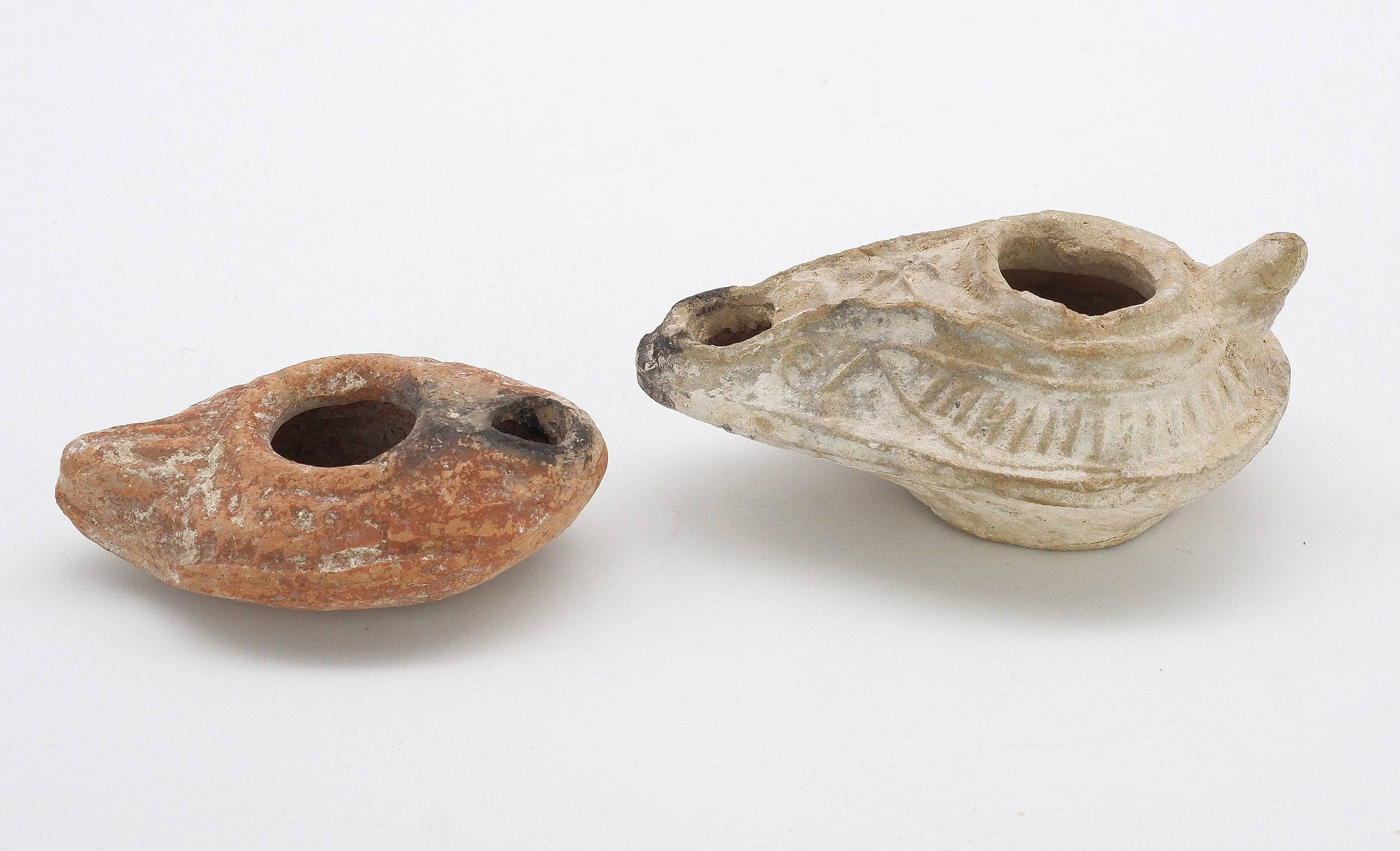 'Two Small Roman Terracotta Lamps'