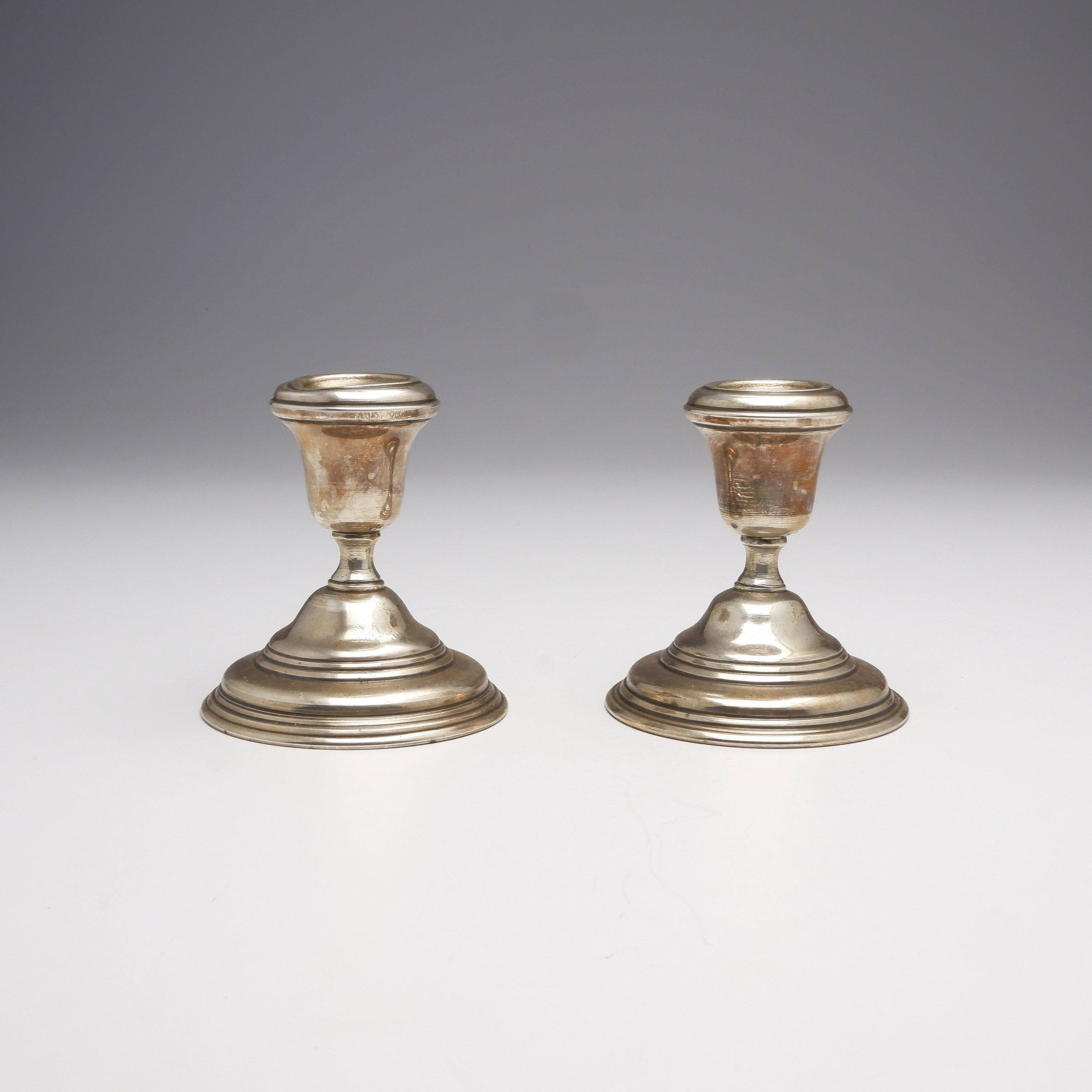 'Pair of Persian 900 Silver Candlesticks, 215g'
