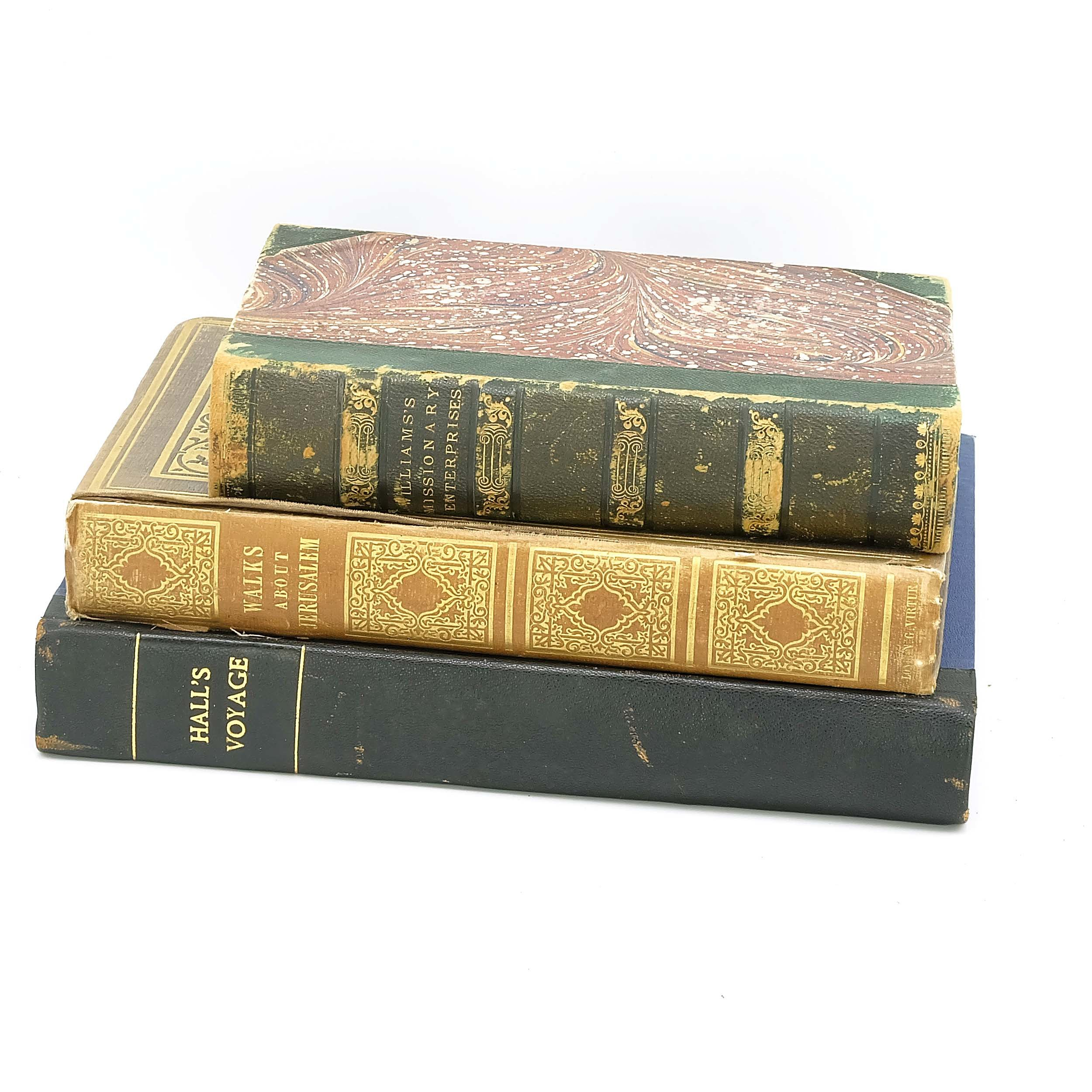'Three Antiquarian Books Including An Account of A Voyage of Discovery By Captain Basil Hall 1818, Walks About Jerusalem 2nd Edition, and Williams Missionary Enterprises 1938'