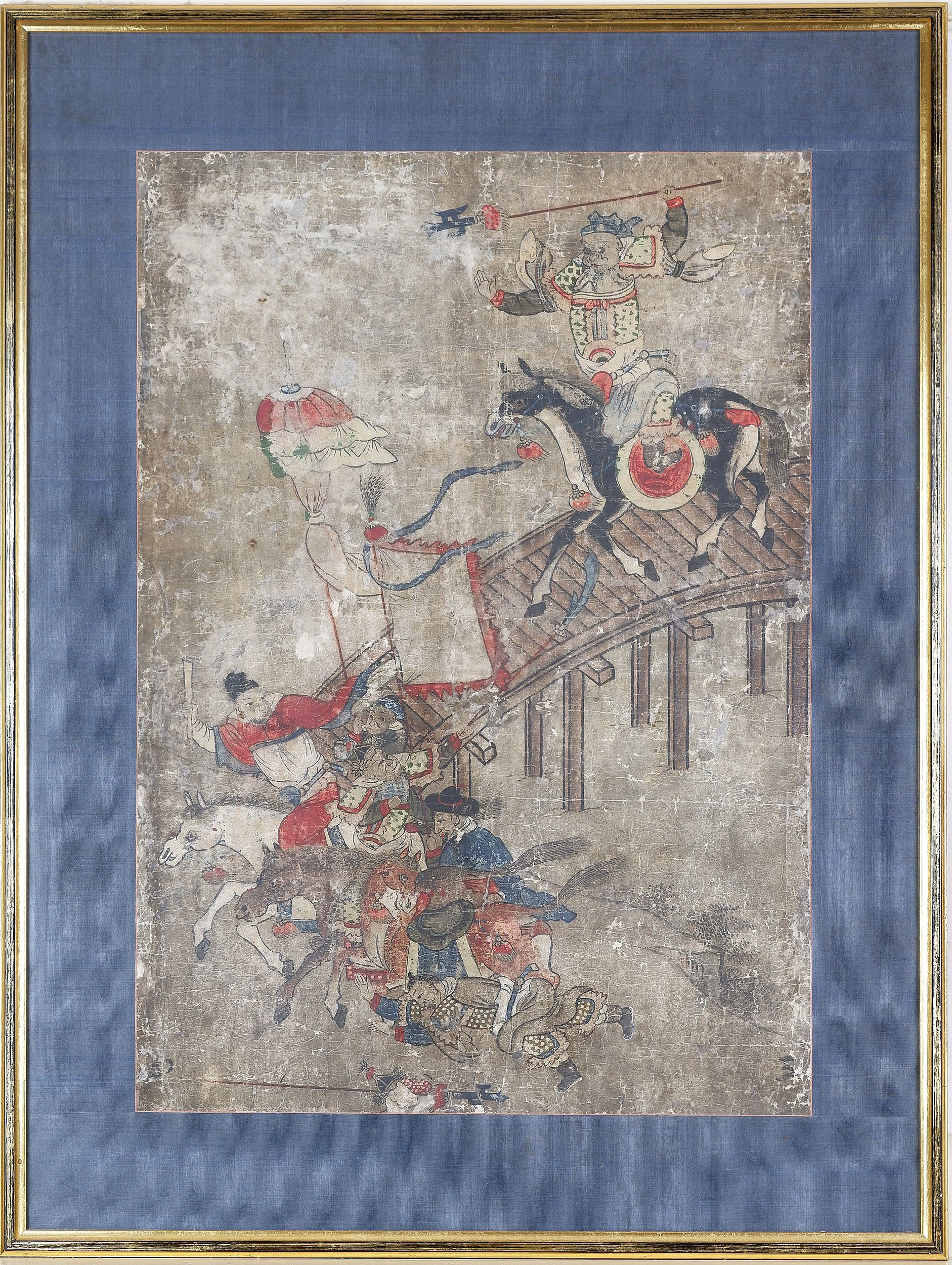 'Korean Painting of Warriors on Horseback, Gouache and Ink on Paper, 19th Century or Earlier'