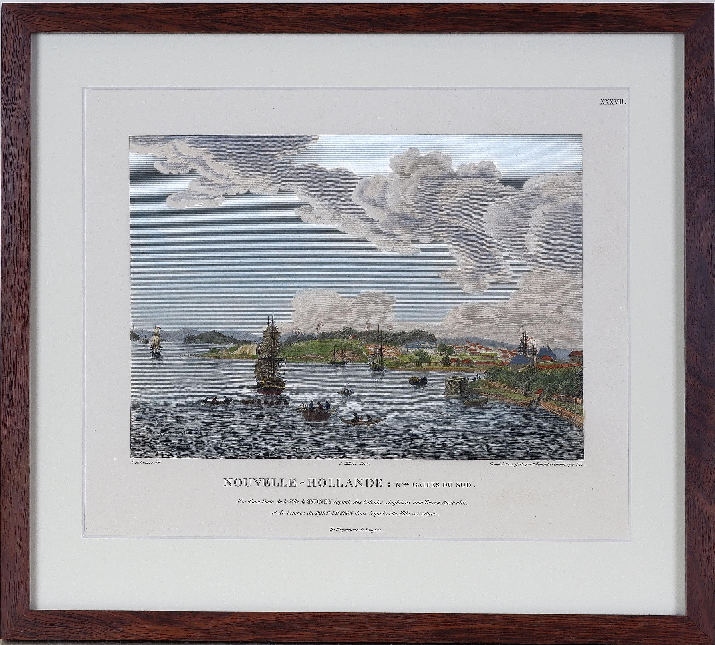 'Charles Alexander Lesueur (1788-1846) Vue DUne Partie de la Ville de Sydney .., Hand Coloured Engraving'