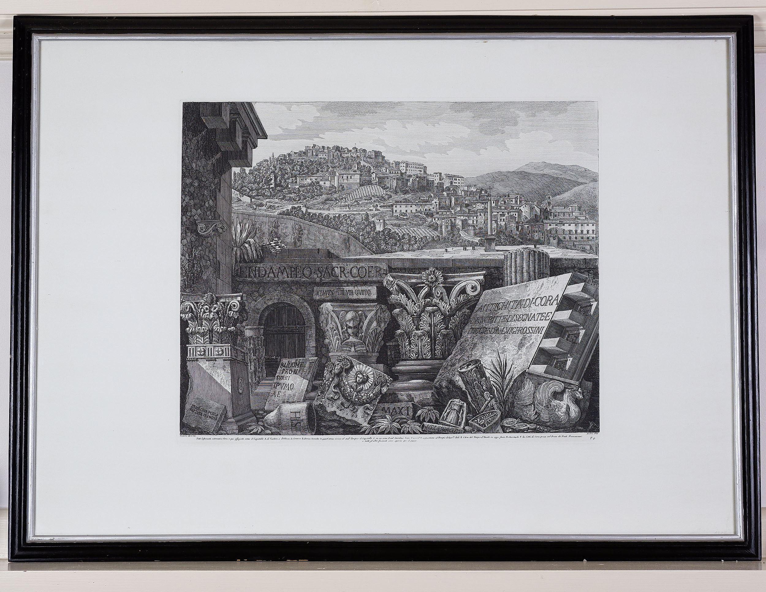 'Luigi Rossini (Italian 1790-1857) Capitals and Ruins in Cora 1825, Engraving'