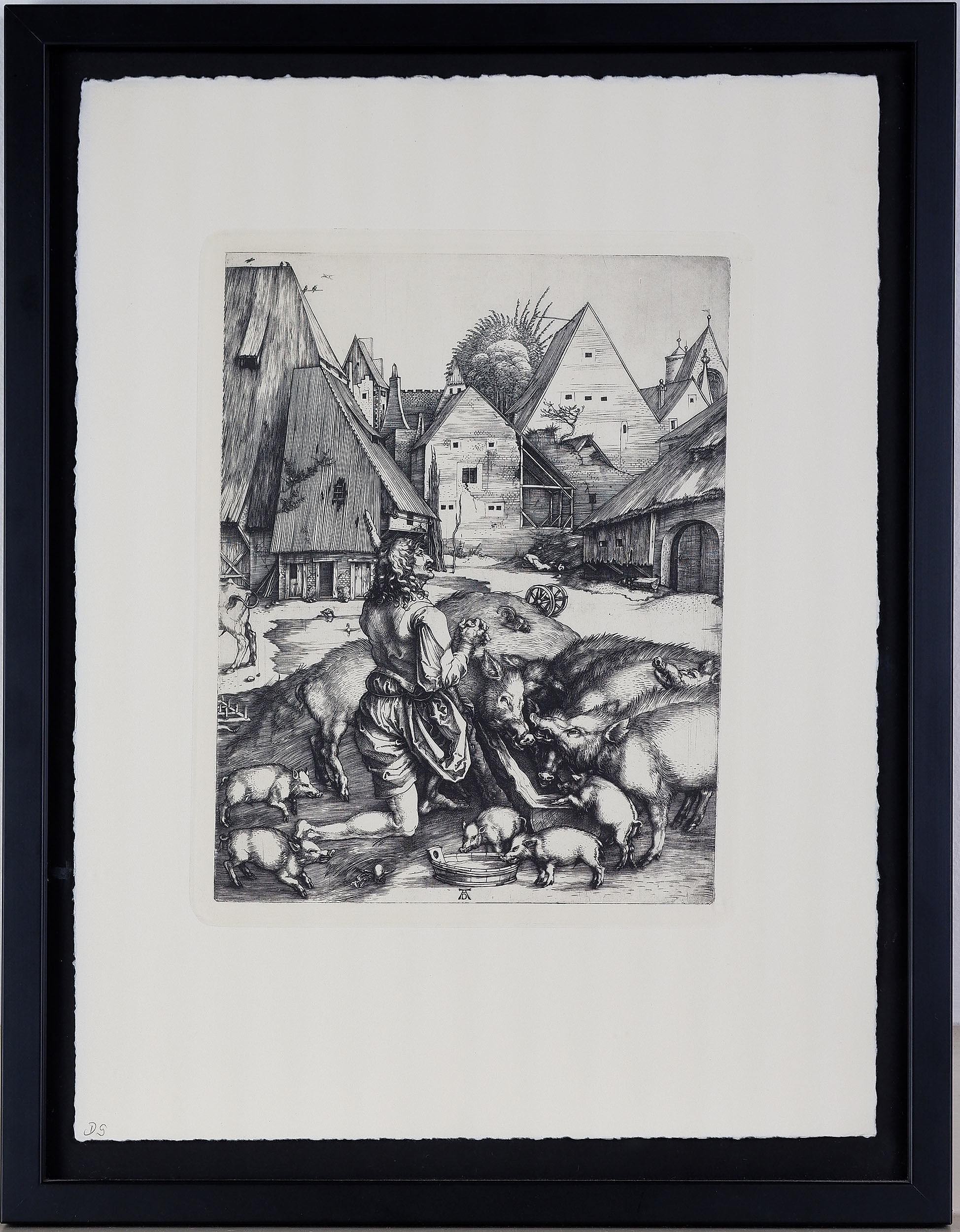 'Albrecht Durer (German 1471-1528) The Prodigal Son Among the Pigs 1497, Engraving, 20th Century Impression'