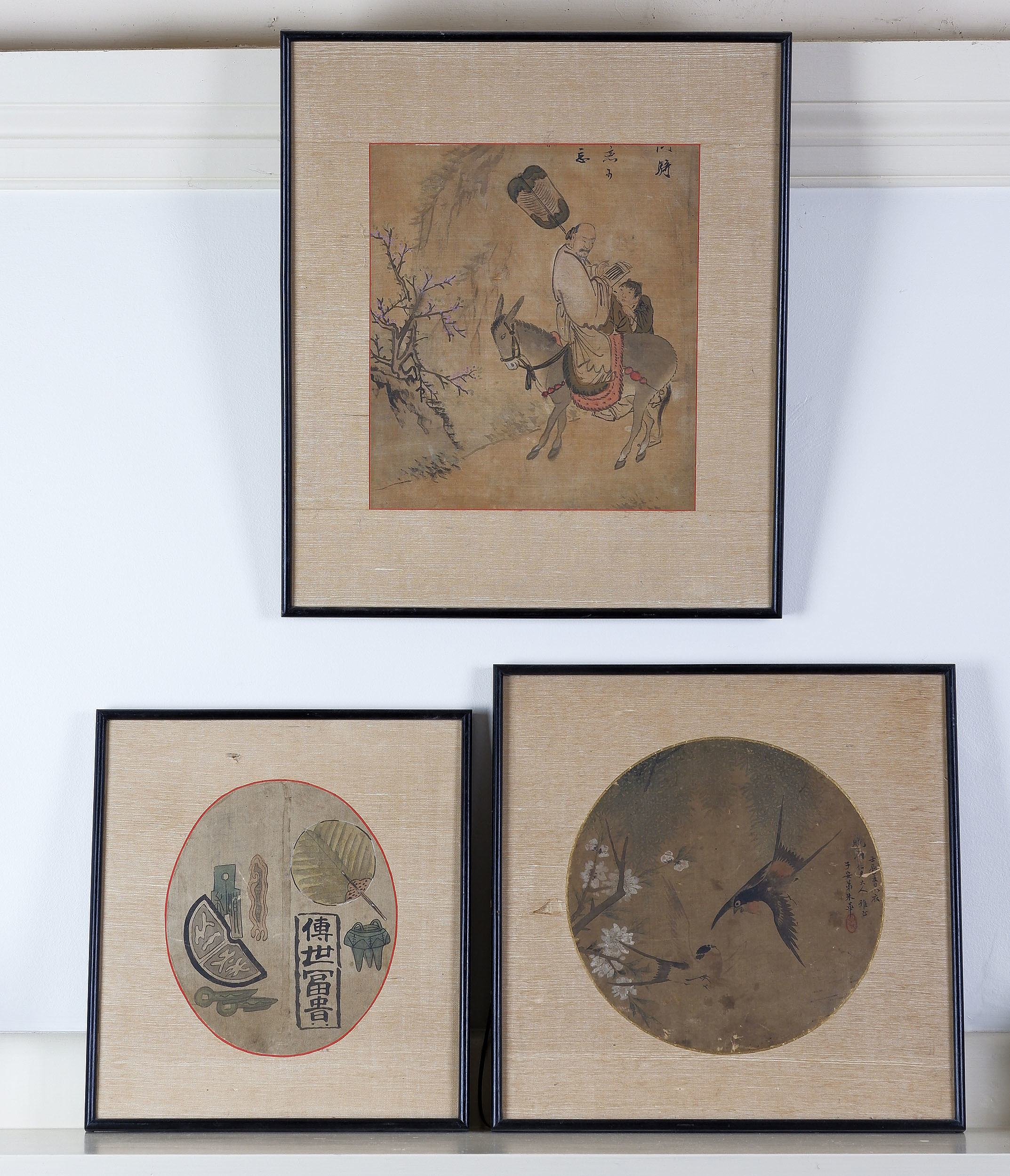 '19th/20th Century Chinese, Three Various Paintings, Ink and Colour on Silk'