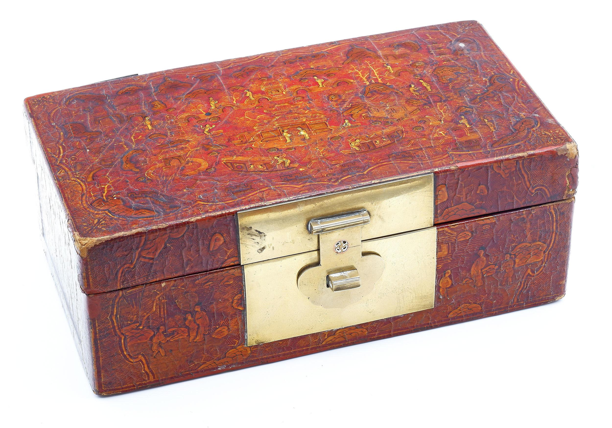 'Chinese Export Lacquer Box with Copper Inlaid Brass Latch, 19th Century'