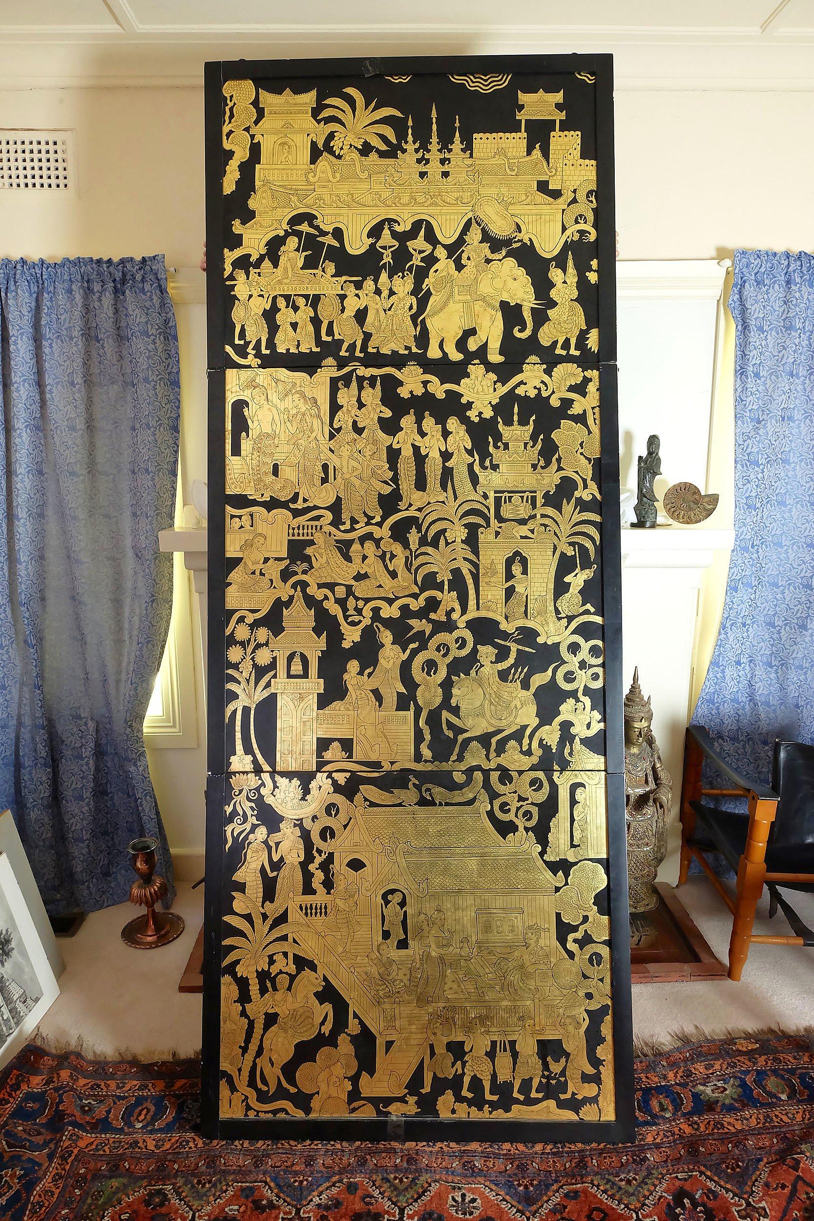 'Large Burmese Lacquered Three Fold Panel'