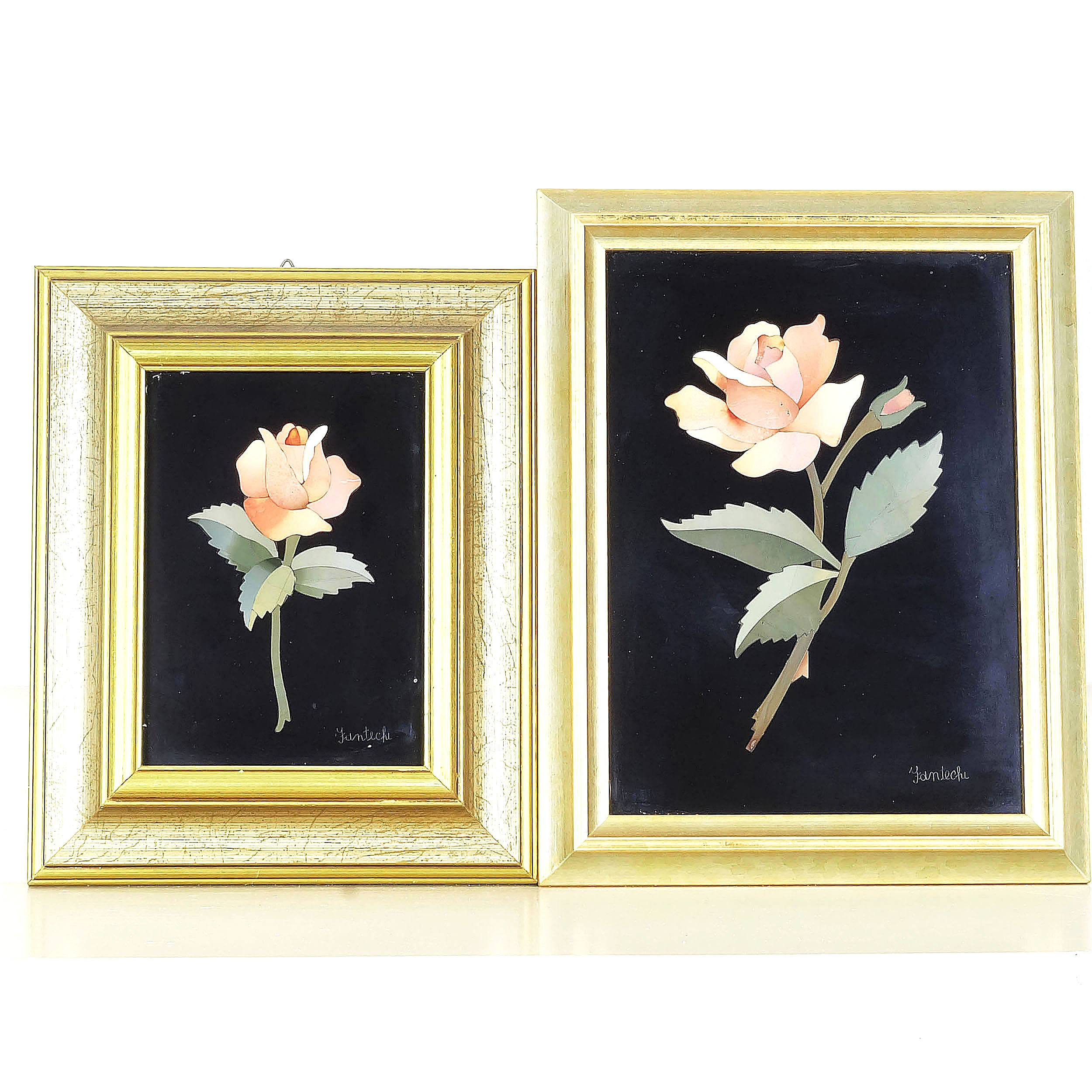 'Two Signed Pietra Dura Floral Still Life Panels'
