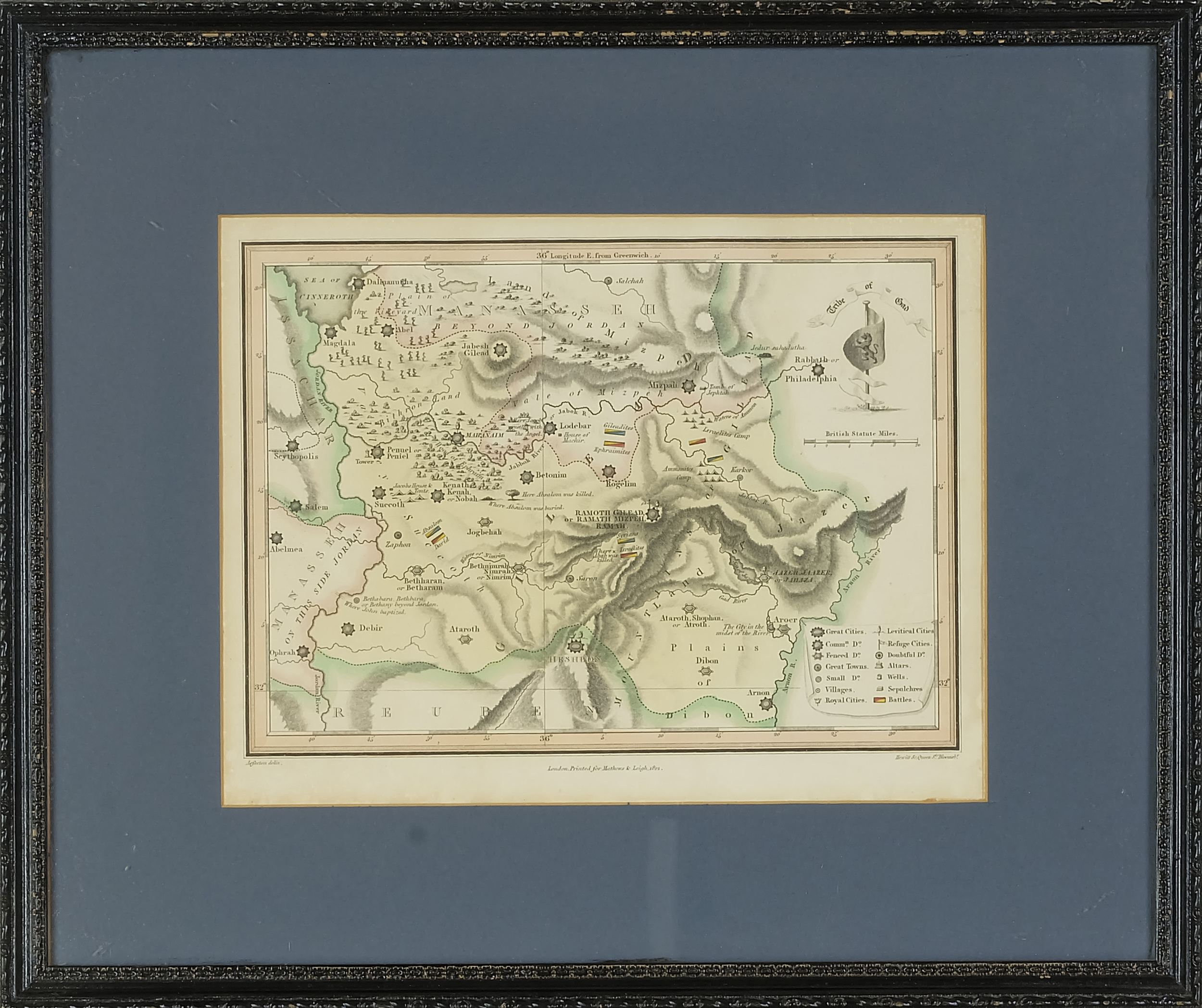 'Matthews and Leigh Antiquarian Hand-coloured Map of Jordan, 1812'