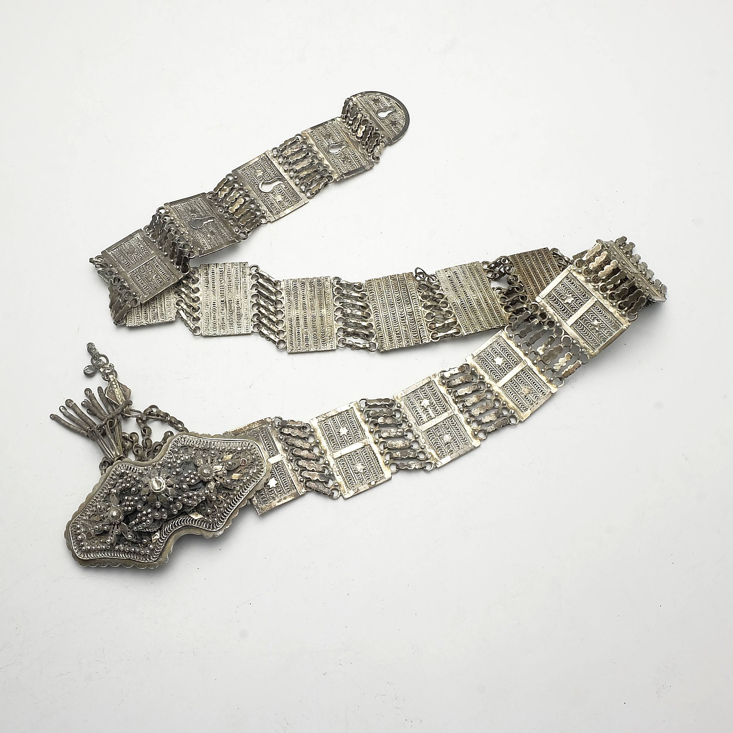 'Persian Silver Filigree Belt with Impressive Raised Silver Buckle, 337g'