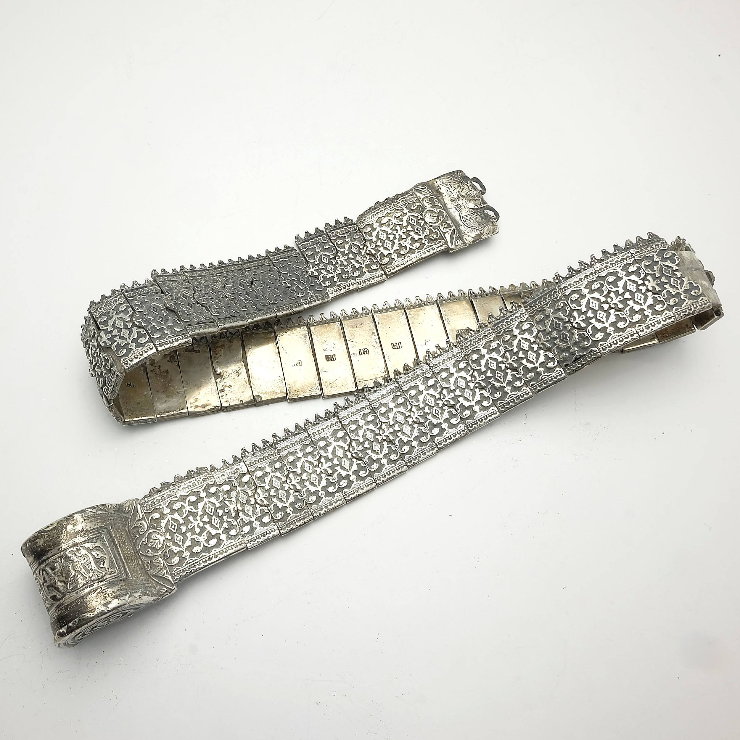 'Heavy Caucasian Silver Belt with Cast Foliate Relief Panel Links, 693g, Hallmarked in Cyrillic C.N, Knights Head and Cross Engraving to Buckle'