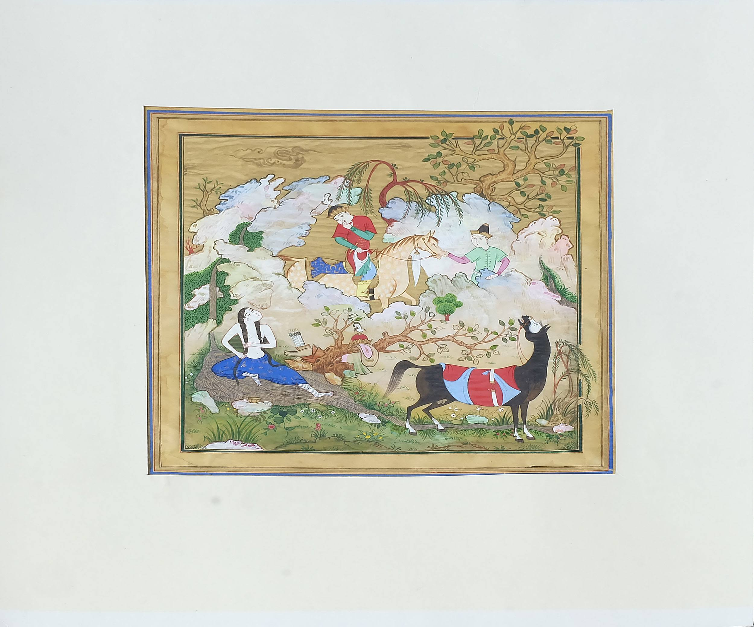 'Indo Persian Miniature Painting, Gouache and Ink on Paper, 20th Century'