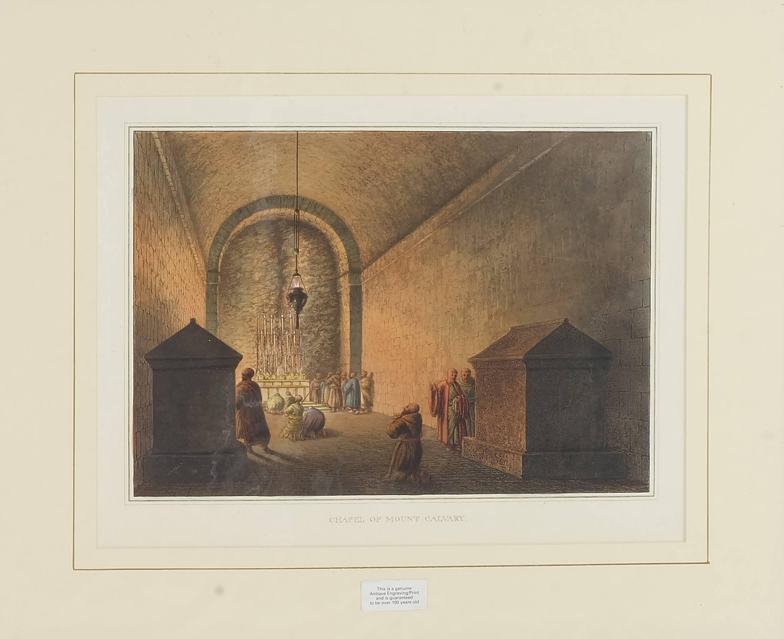 'Luigi Mayer (Italian 1755-1803) Chapel of Mount Calvary, Colour Engraving, Circa 1810'
