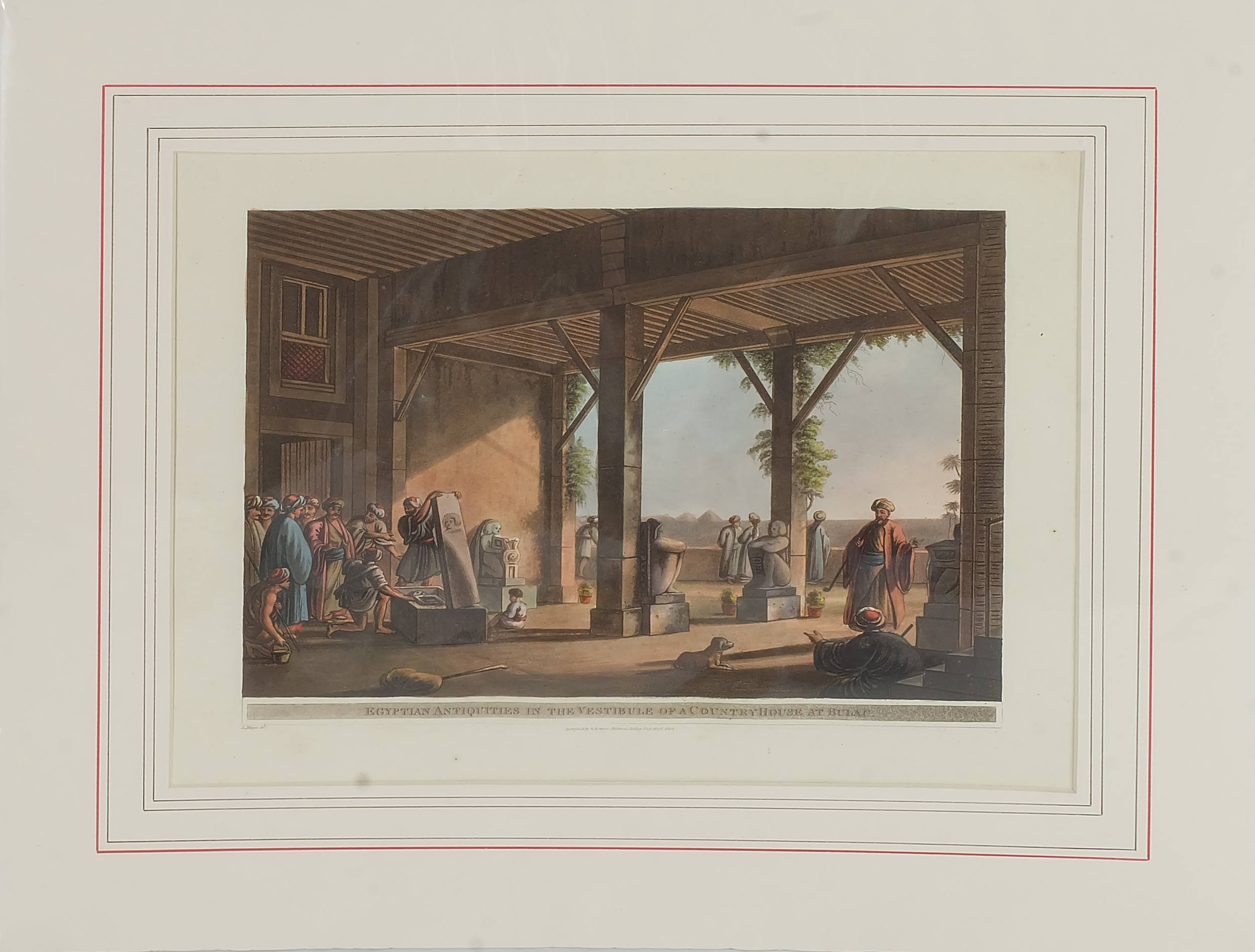 'Luigi Mayer (Italian 1755-1803) Egyptian Antiquities in the Vestibule of a Countryhouse at Bulam, Colour Engraving, Circa 1802'