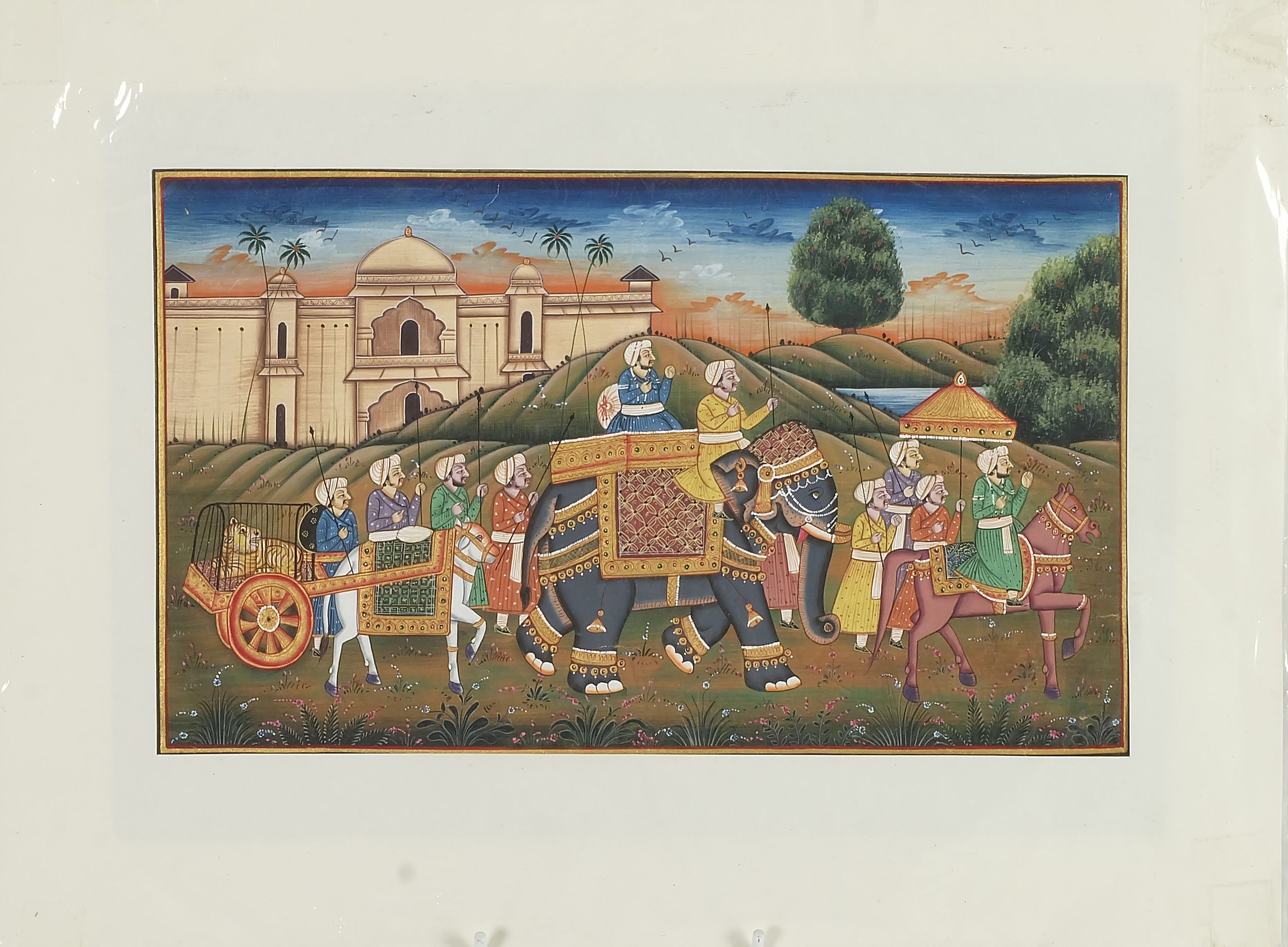 'Indo Persian Miniature Painting of a Procession, Gouache and Ink on Paper'