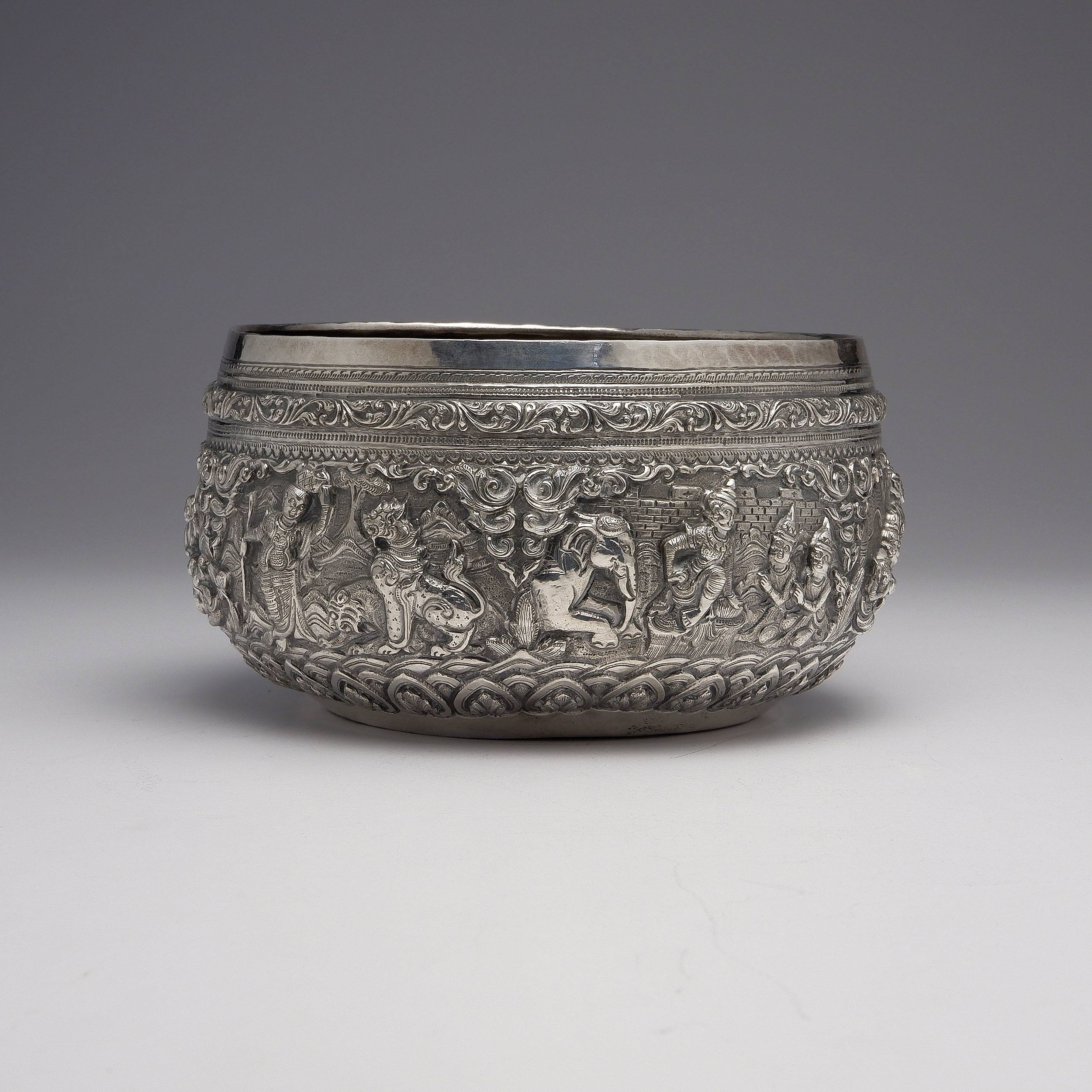 'Burmese .9999 Silver Ceremonial Bowl with Heavy Repousse Decoration, 346g'