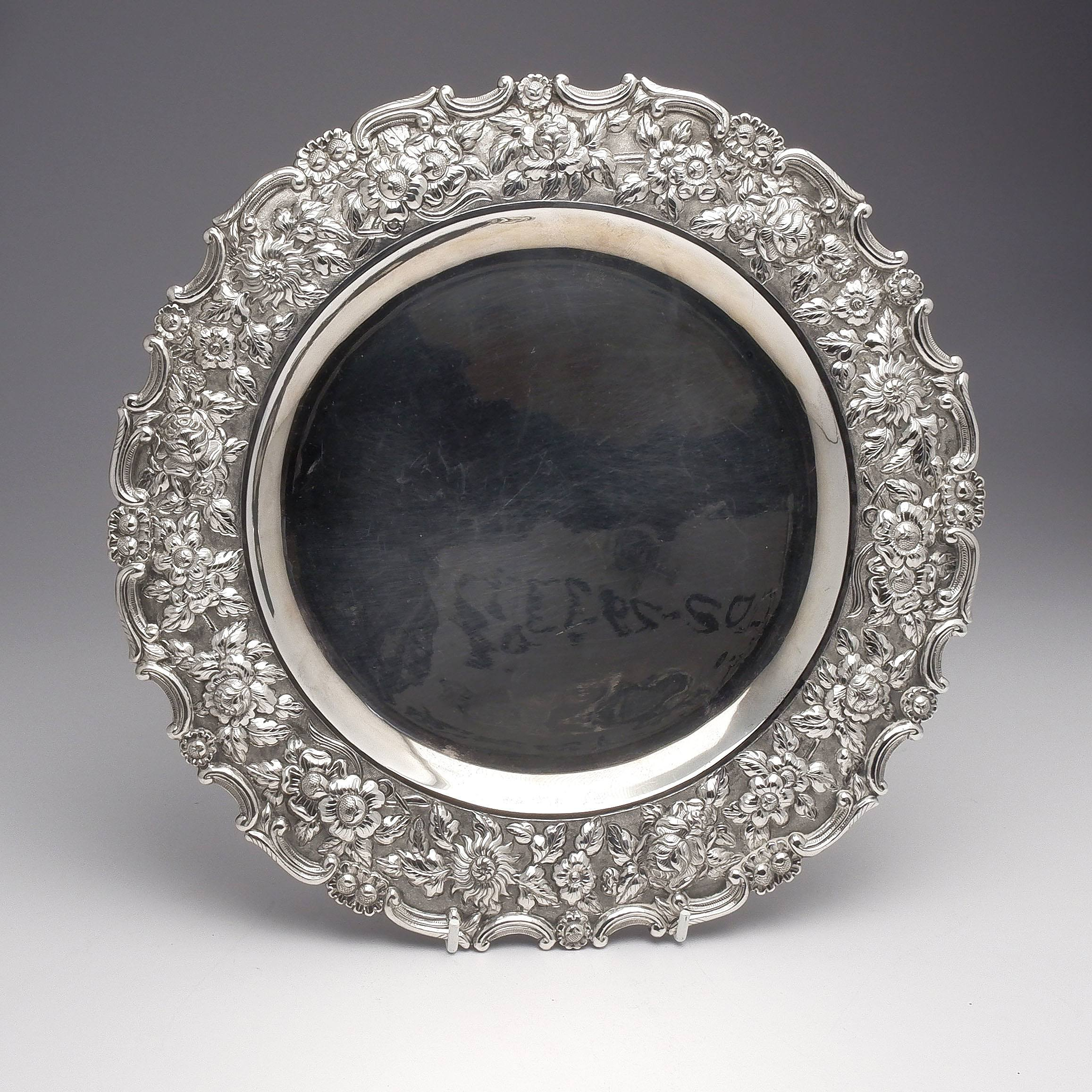 'Chinese TaiPing Sterling Silver Tray with Heavy Repousse Border, 679g'