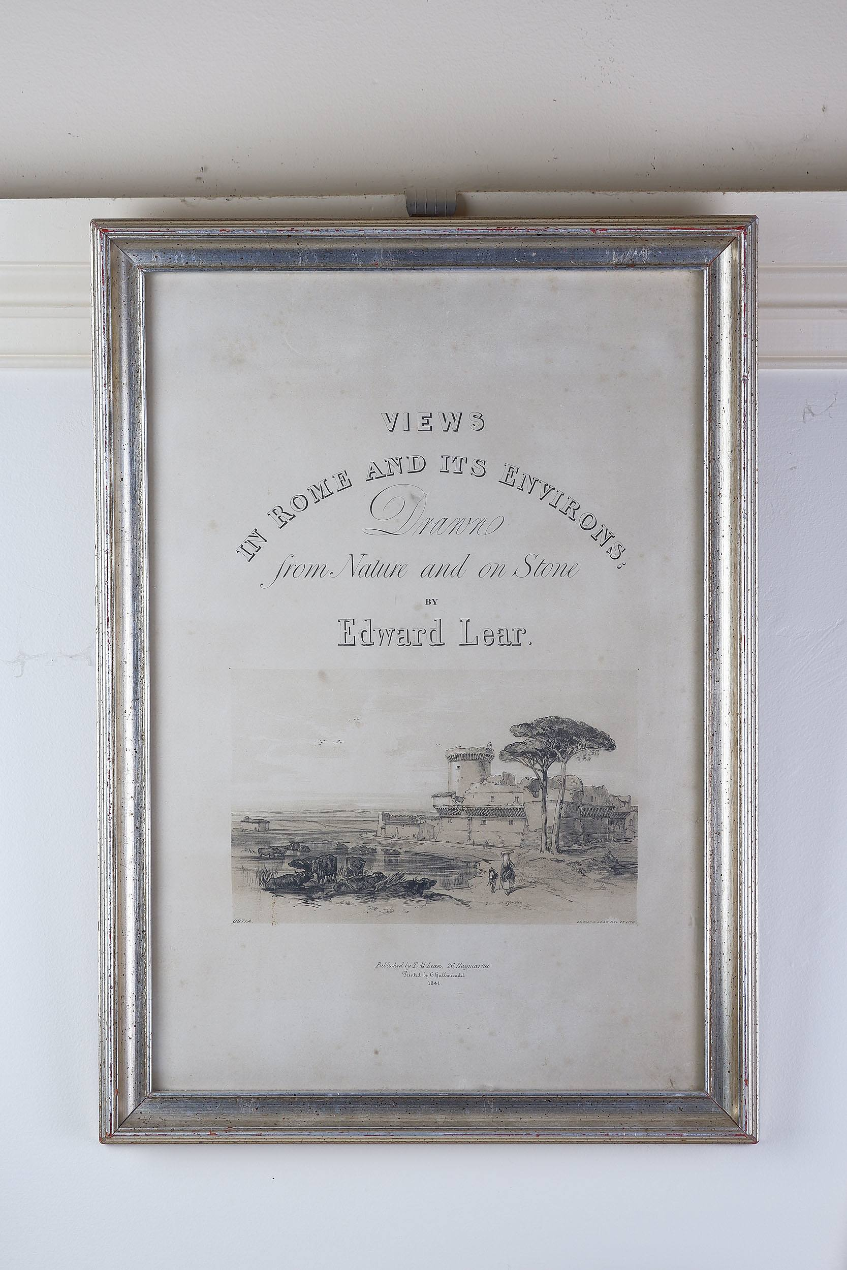 'Edward Lear, View of Rome Lithograph, Published 1841'