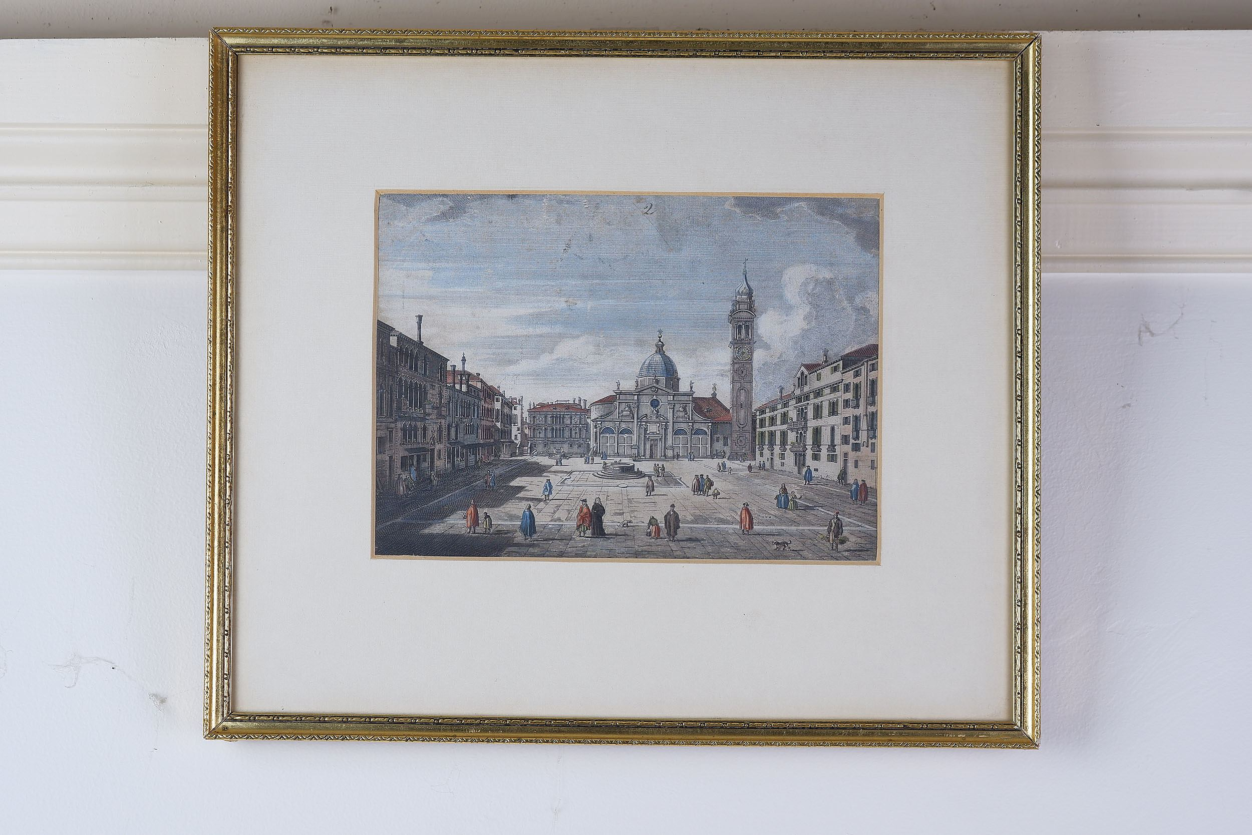 'After Canaletto, Three Views of Venice, Hand Coloured Engravings'