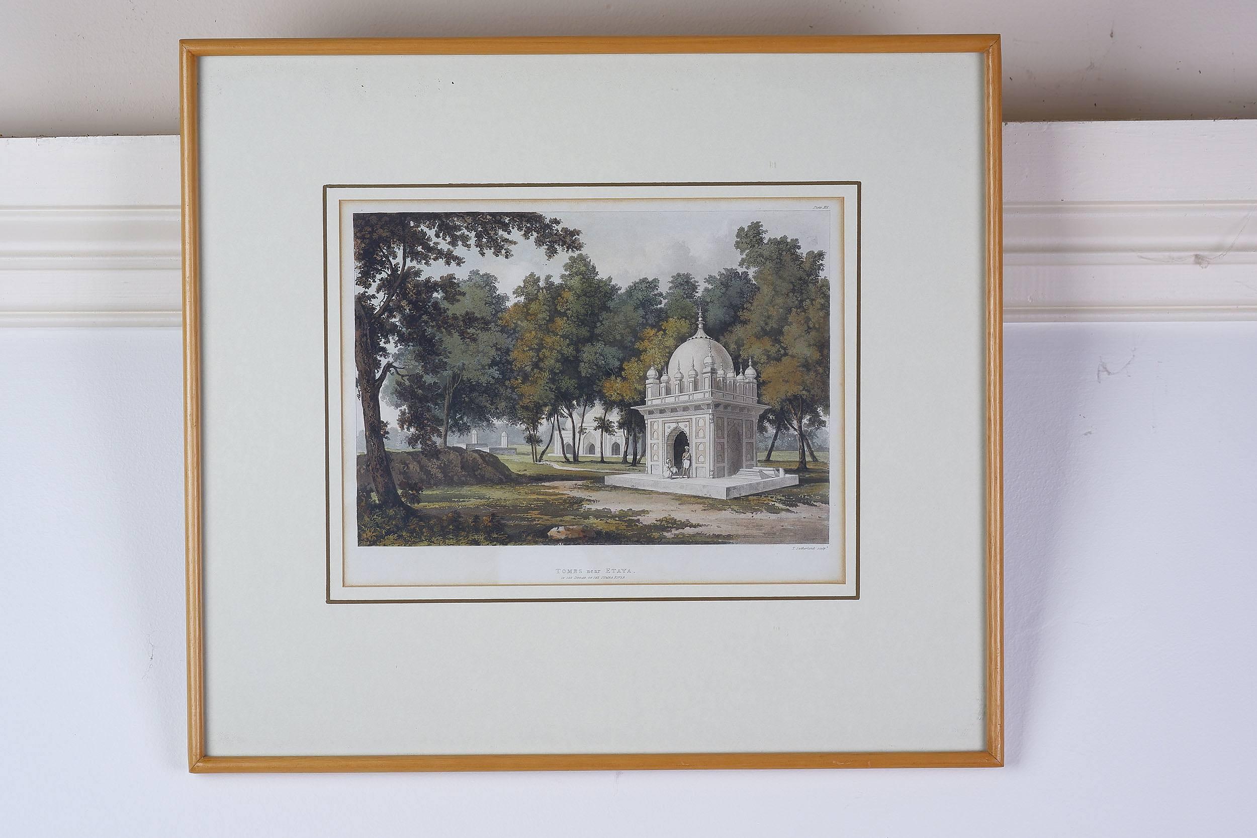 'After Thomas Sutherland, Tombs Near Etaya, Hand Coloured Engraving'