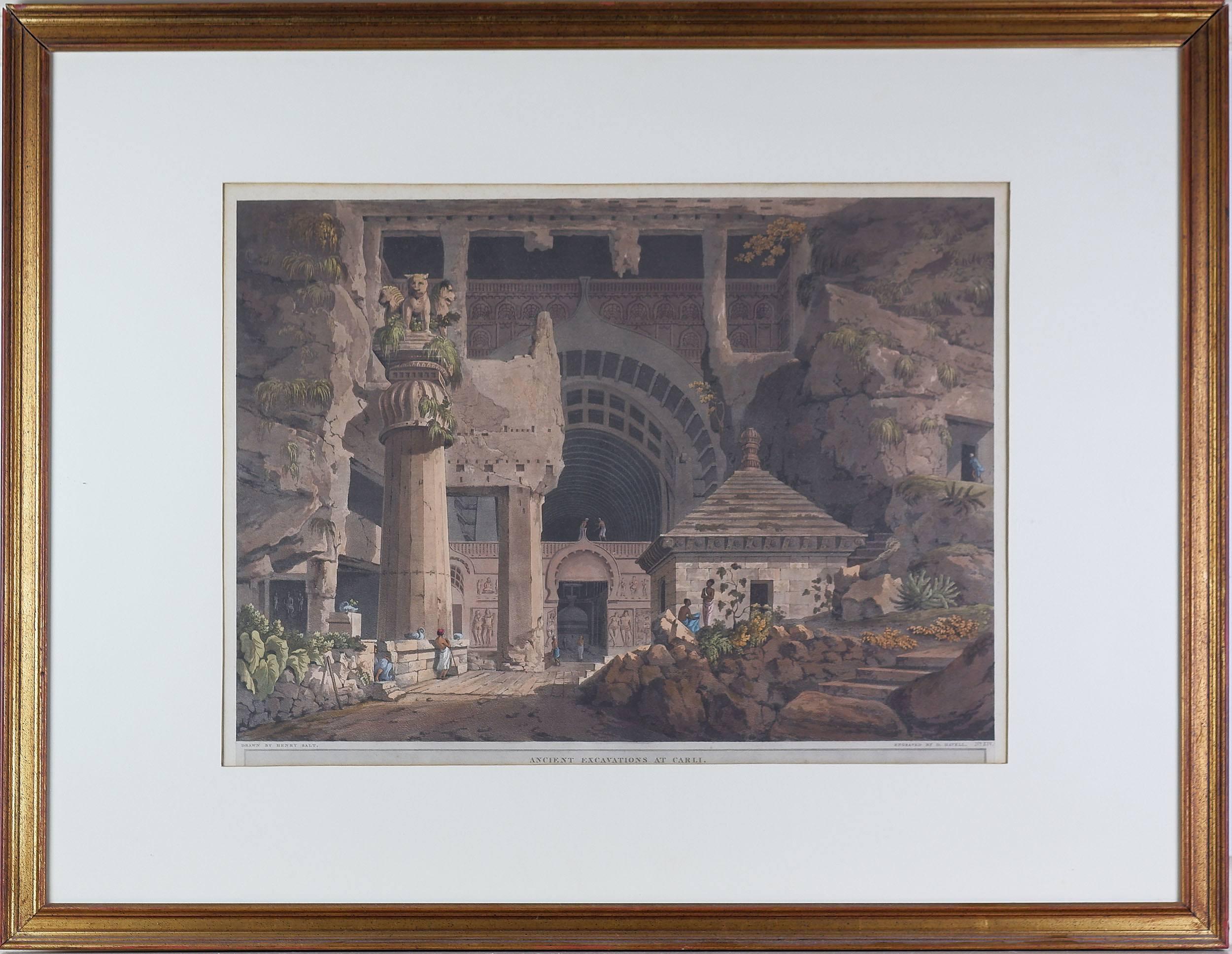 'Henry Salt (1780-1827) Ancient Excavations at Carli, Aquatint, Published 1809'
