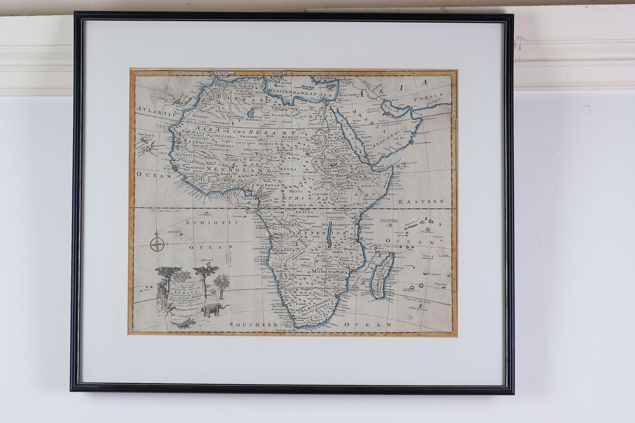 'Emanuel Bowen (1694-1767) Hand Coloured Map of Africa, Published 1744'