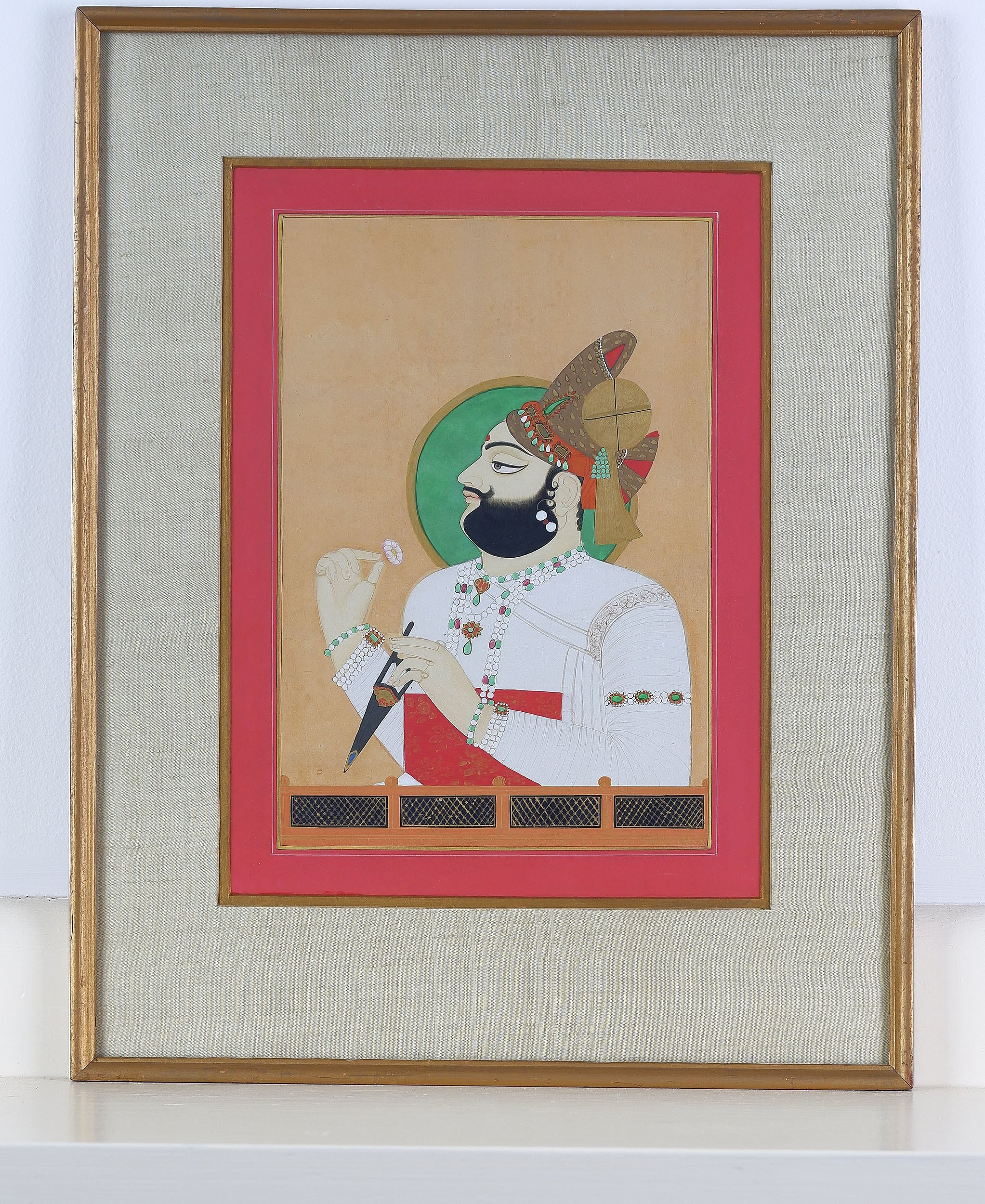 'Indian Miniature Painting of Maharaja Man Singh of Jodhpur, Ink and Gouache on Paper, 20th Century Copy'