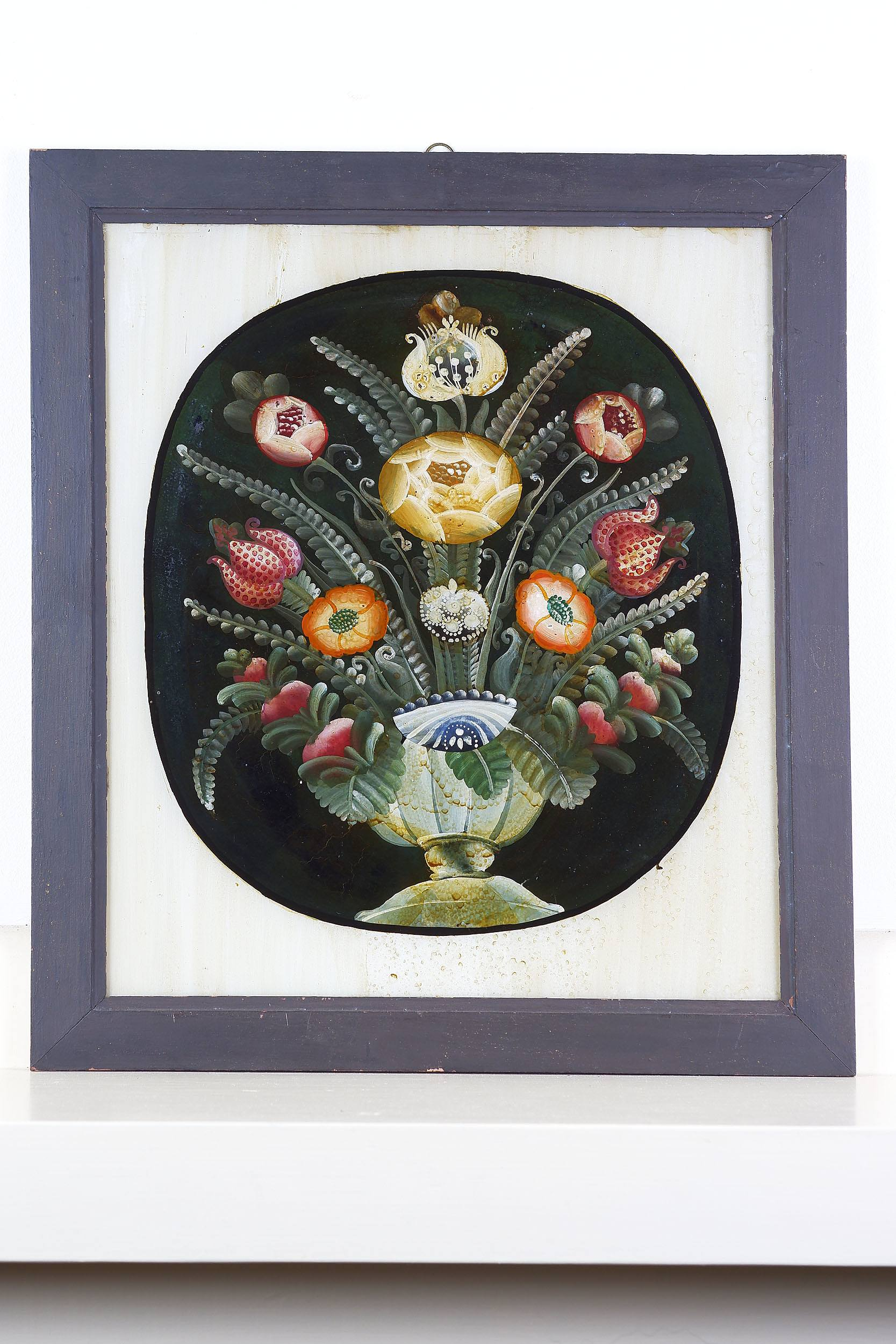 'Antique Italian Reverse Glass Painting of a Vase with Flowers'