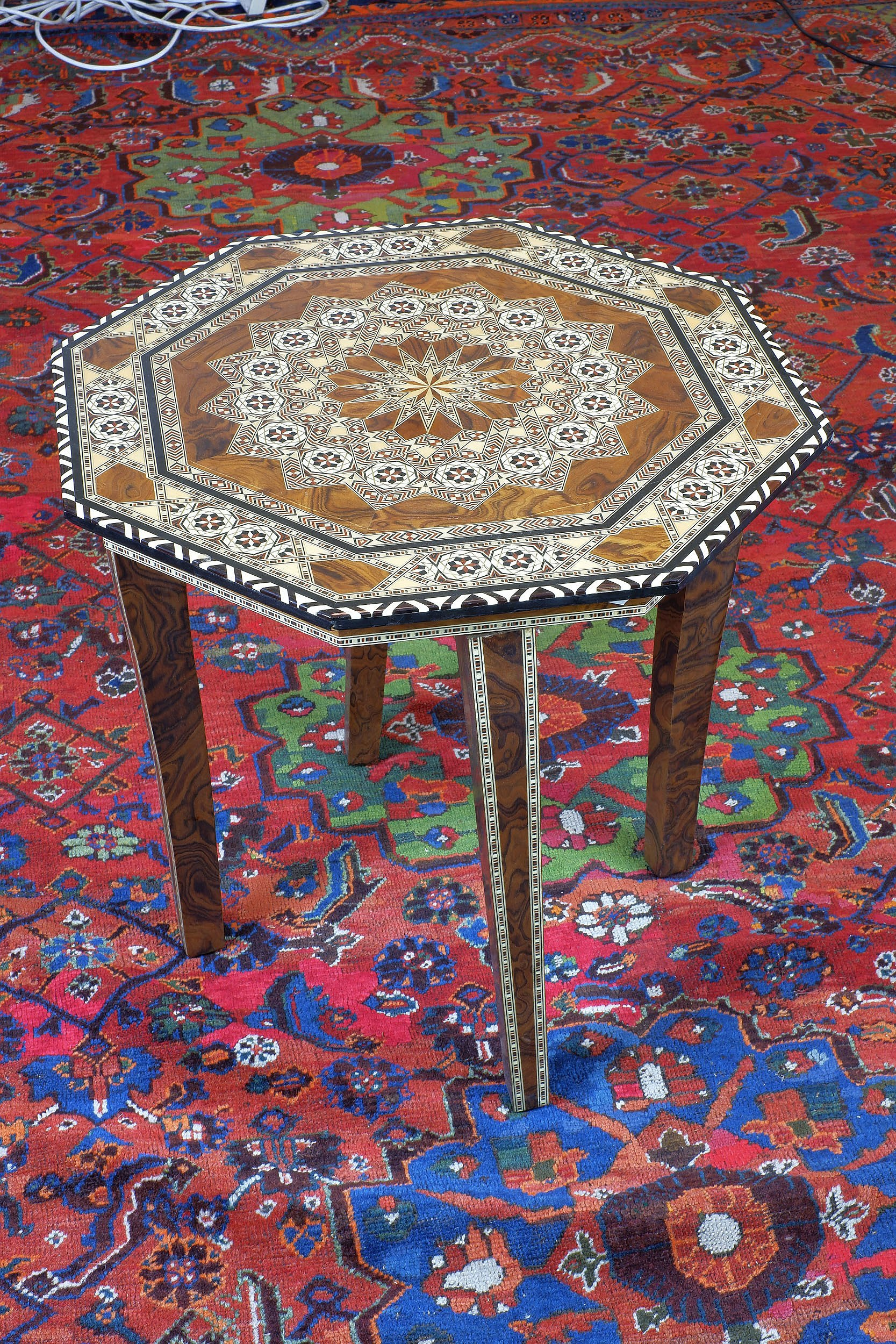 'Iberian Hispano Moresque Marquetry Inlaid Octagonal Table'