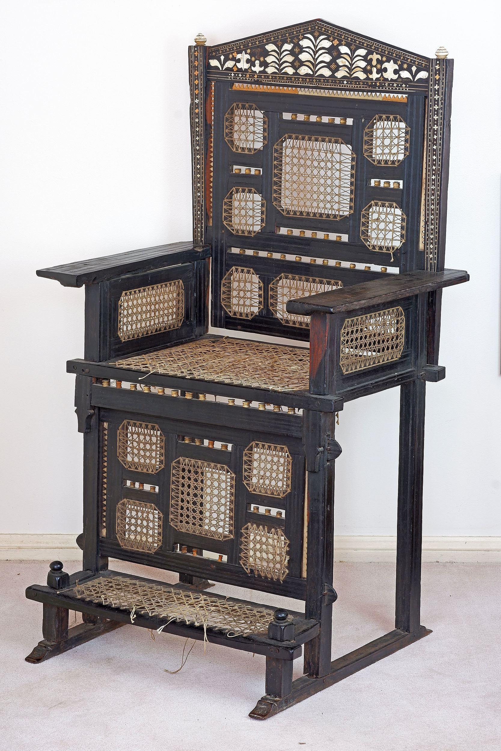 'Important East African Swahili Coast Ivory and Bone Embellished Ebony Throne Chair, Kita Cha Enzi, 19th Century'