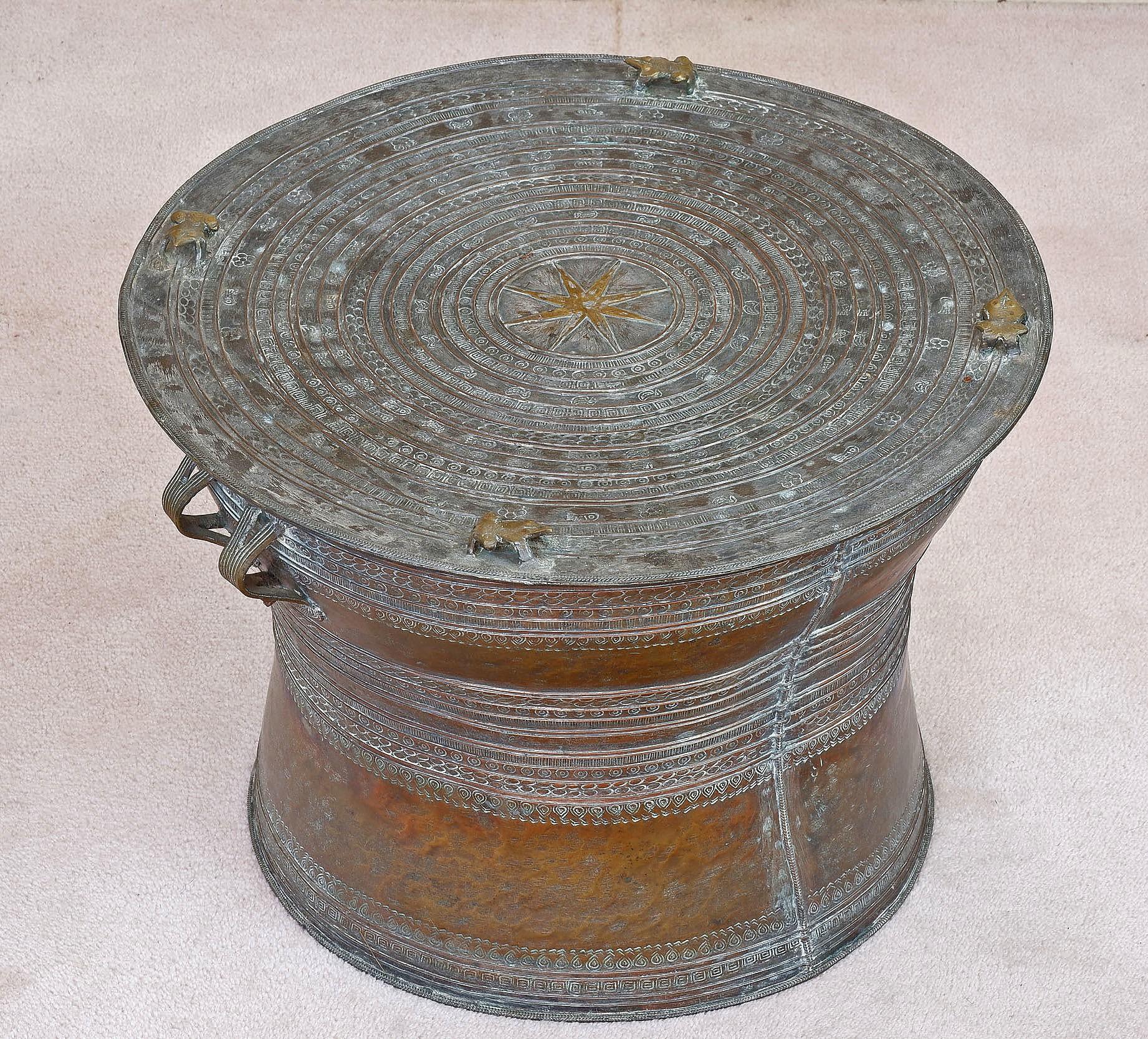 'Shan States Tinned Bronze Rain Drum 20th Century'