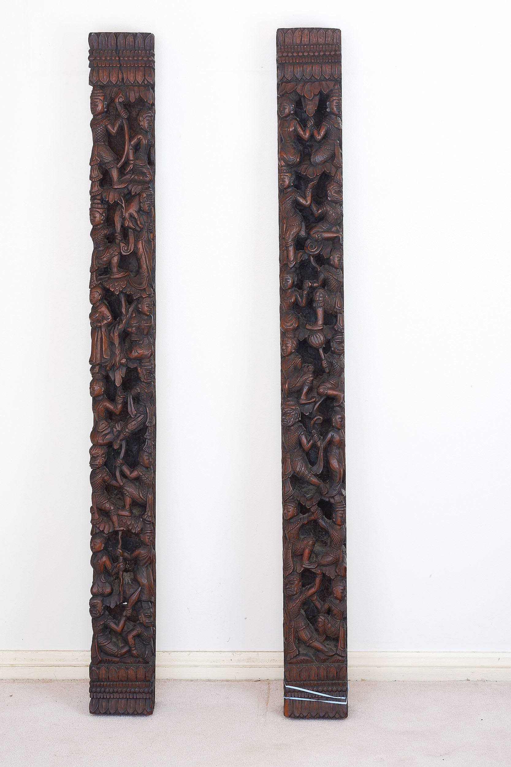 'Burmese Heavily Carved and Pierced Architectural Posts '