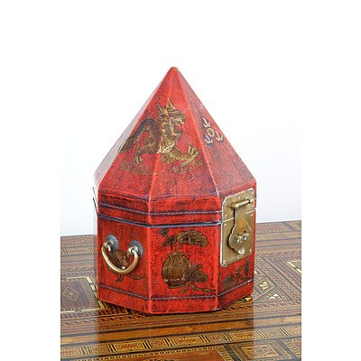 Chinese Pyramidal Box with Lacquer Decoration