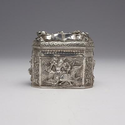 Burmese Heavily Repousse Silver Box, 215g