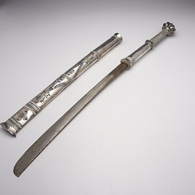 Burmese Silver Cased Sword with Enamel Decoration