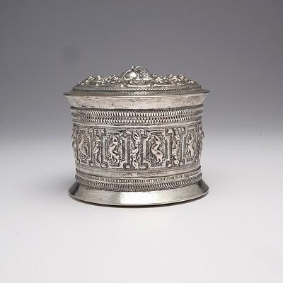 Burmese Heavily Repousse Silver Box, 420g