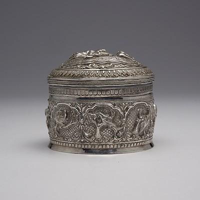 Burmese Heavily Repousse Silver Box, 175g