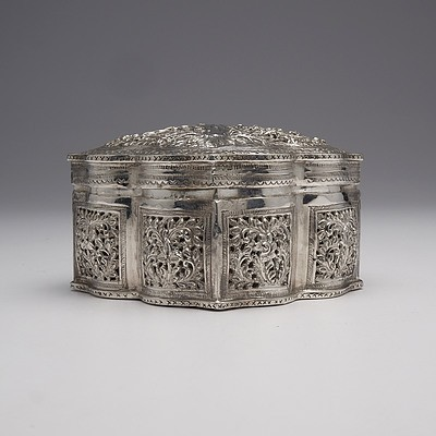 Suberb Burmese Heavily Repousse and Pierced Silver Box, 242g