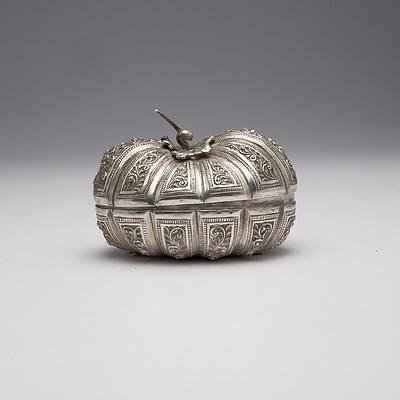 Burmese Repousse Silver Pumpkin Form Box, 140g