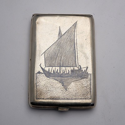 Iraqi Engraved Silver Cigarette Case