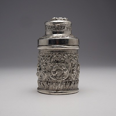 Burmese Heavily Repousse Silver Container, 171g