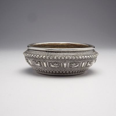 Burmese Silver Ceremonial Bowl with Heavy Repousse Decoration, 135g