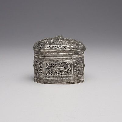 Burmese Heavily Repousse and Pierced Silver Box, 127g