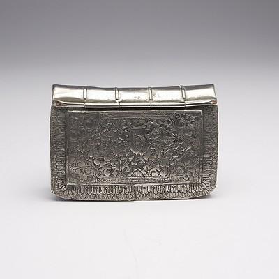 Burmese Engraved Silver Book Form Box, 113g