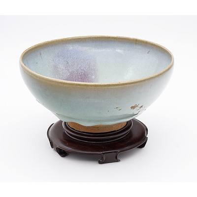 Chinese Junyao Chun Glaze Bowl with Purple Splash, Possibly Jin to Ming Dynasty
